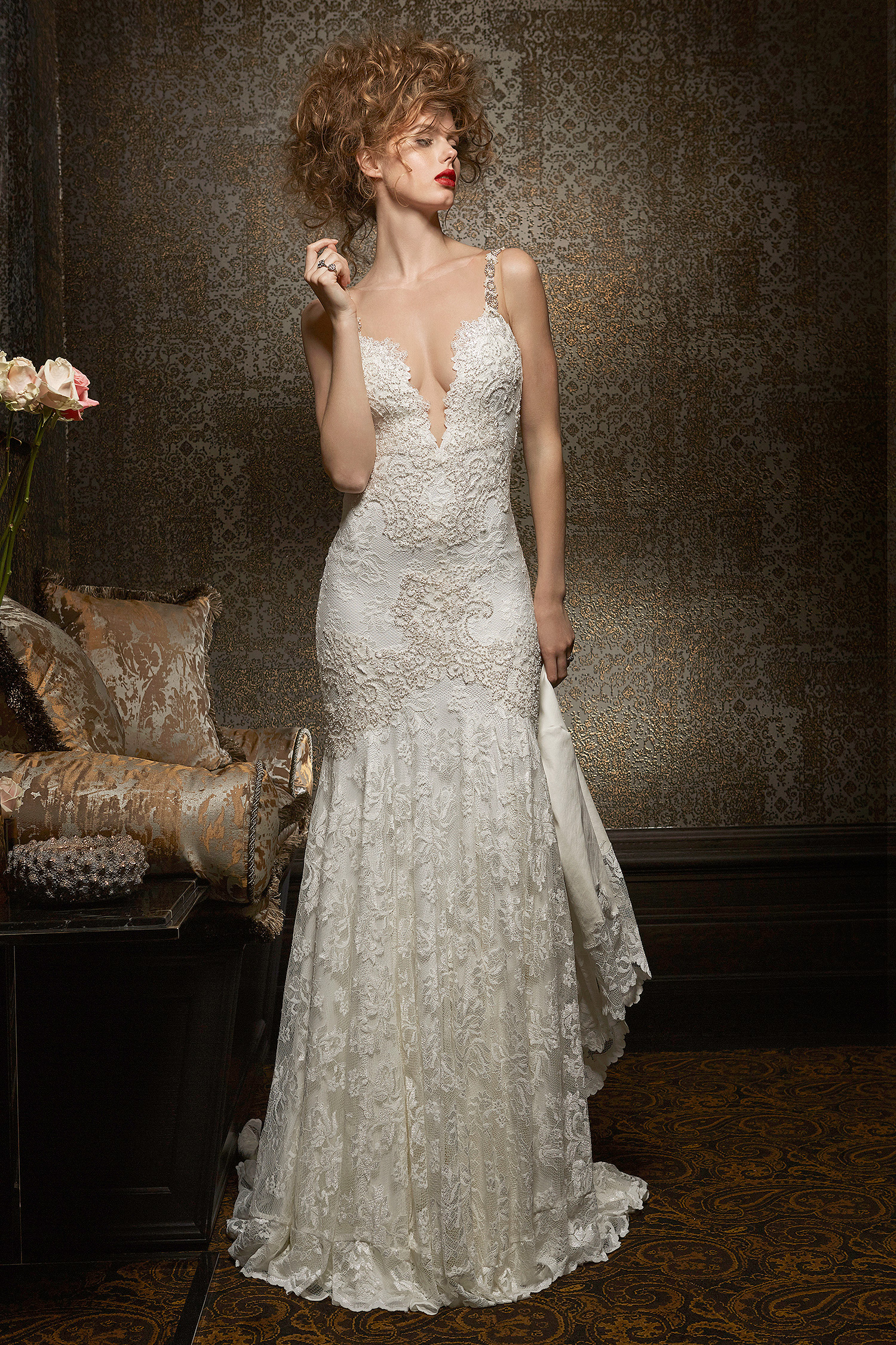 olvi wedding dress spring 2019 plunging v-neck lace trumpet