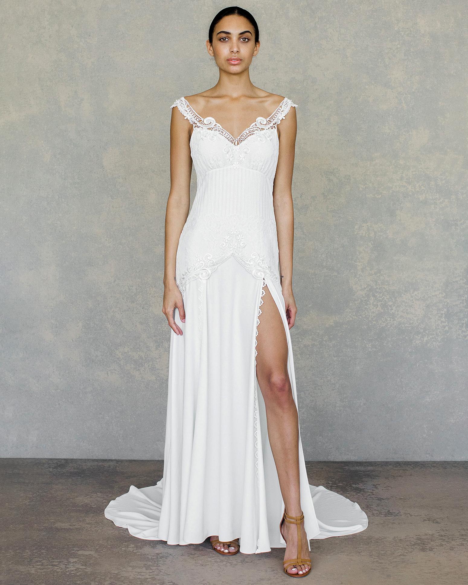 claire pettibone wedding dress spring 2019 off-the-shoulder v-neck slit