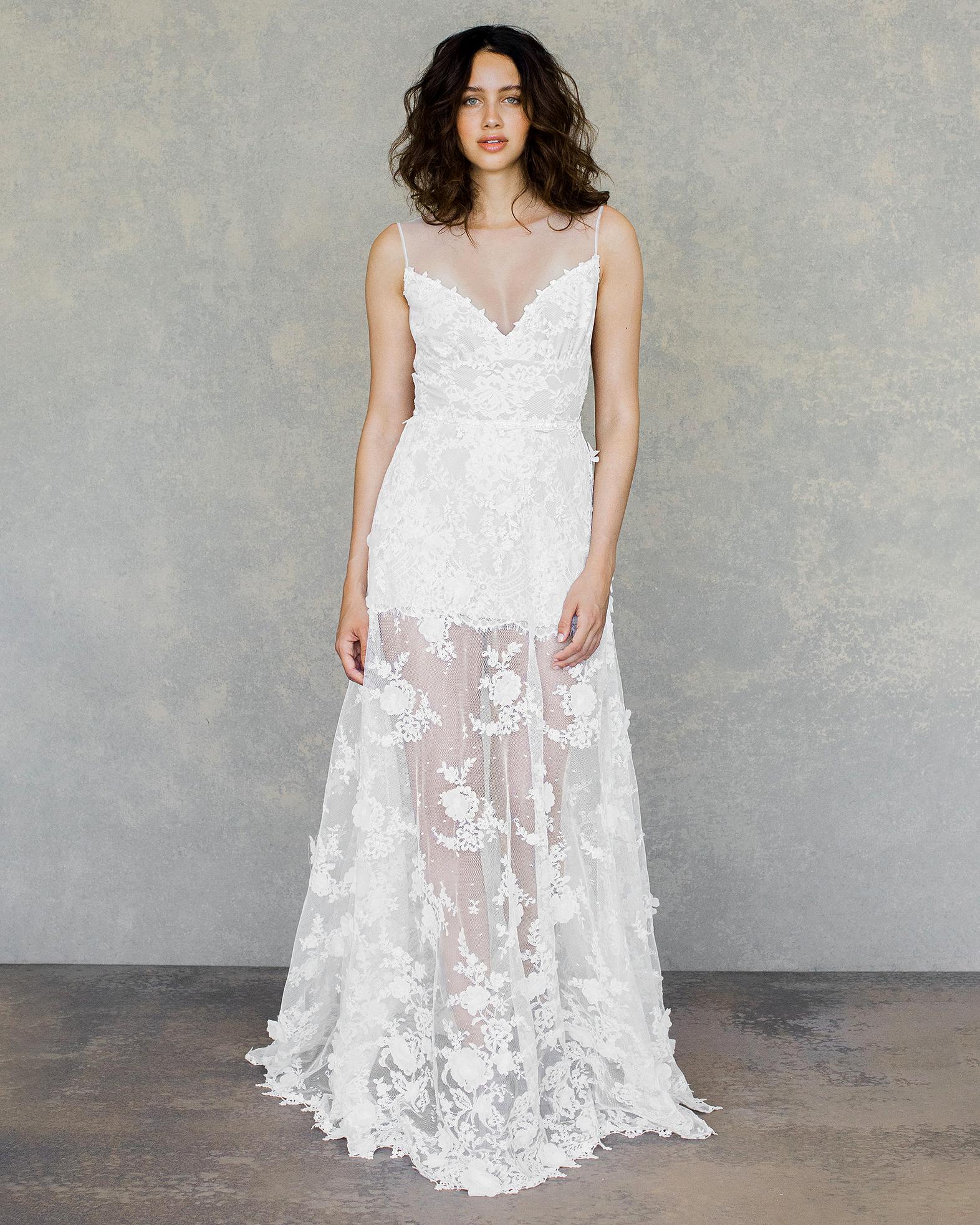 claire pettibone wedding dress spring 2019 illusion neck short sheer overlay