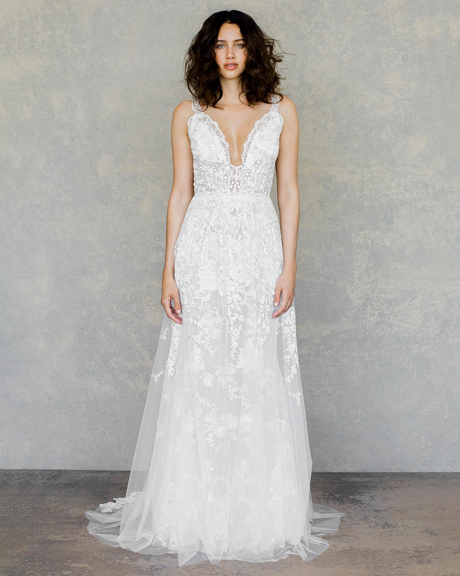 claire pettibone wedding dress spring 2019 v-neck lace detail