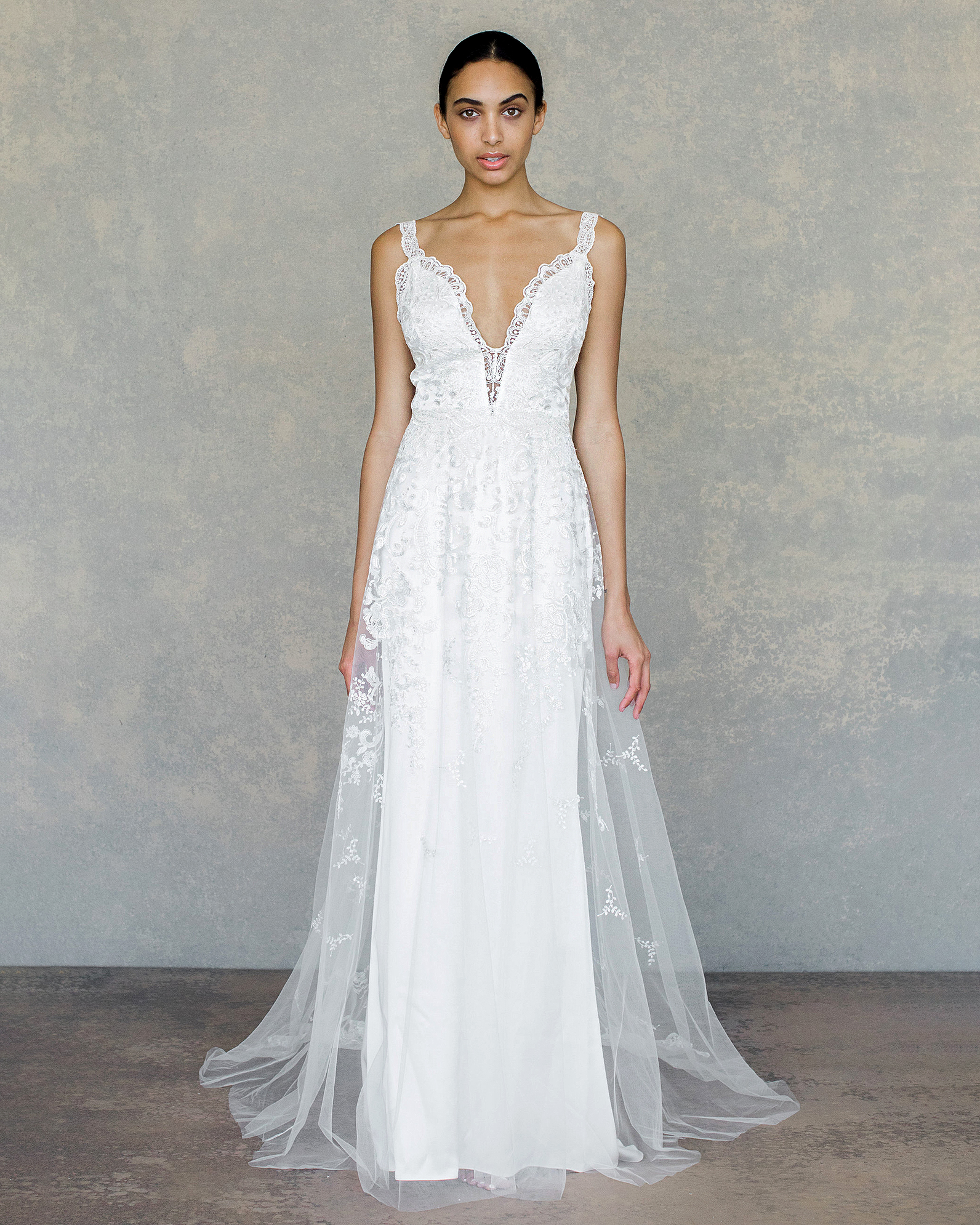 claire pettibone wedding dress spring 2019 lace bodice sheer overlay detail