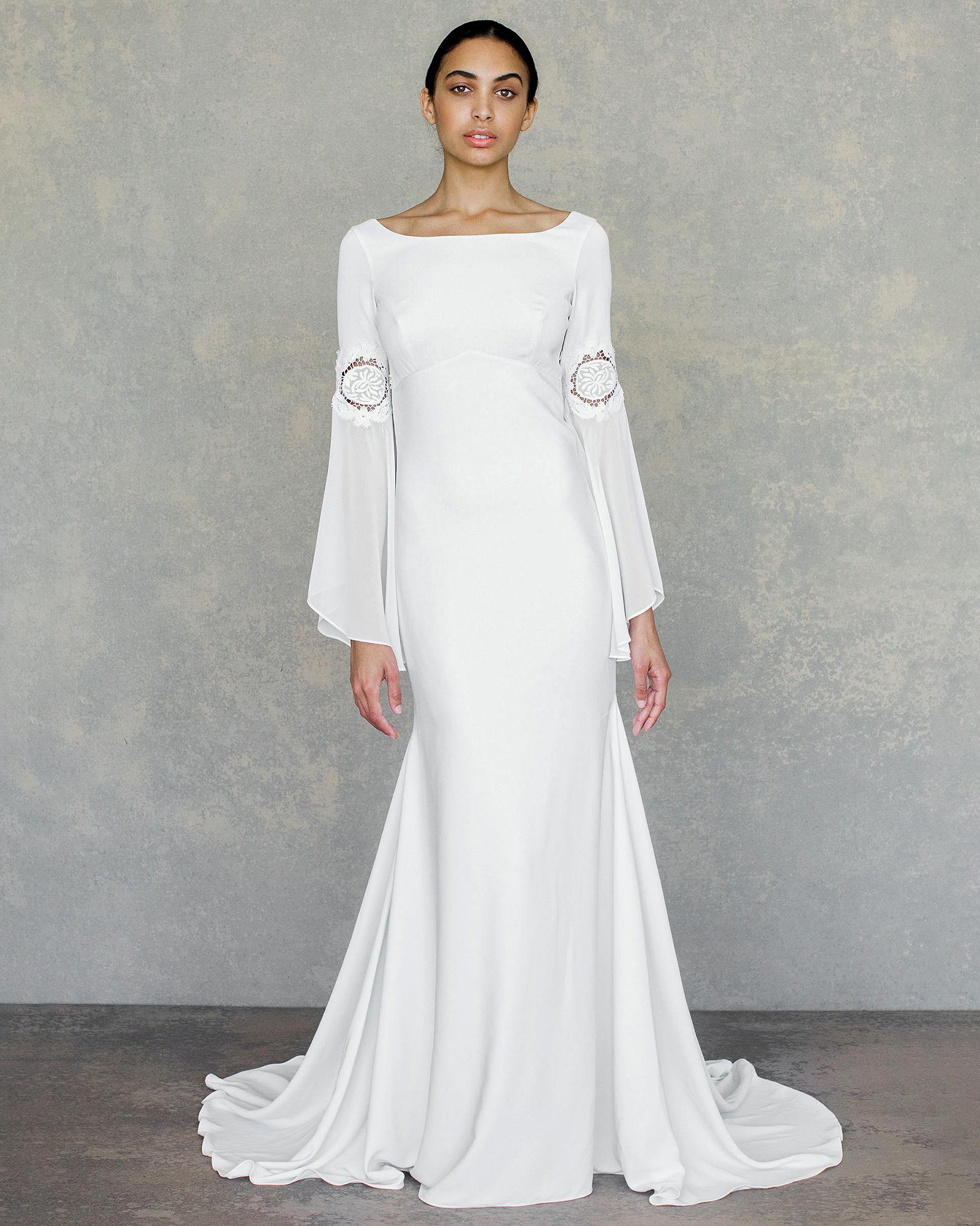 claire pettibone wedding dress spring 2019 boat-neck long-sleeve