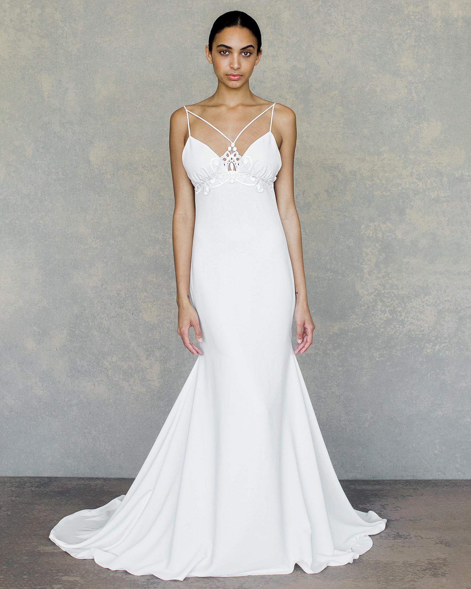 claire pettibone wedding dress spring 2019 strappy bust detail trumpet