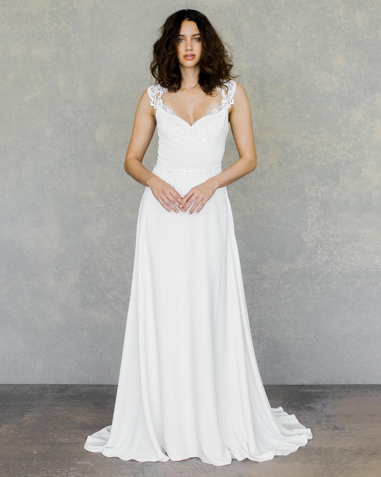 claire pettibone wedding dress spring 2019 v-neck lace shoulder details