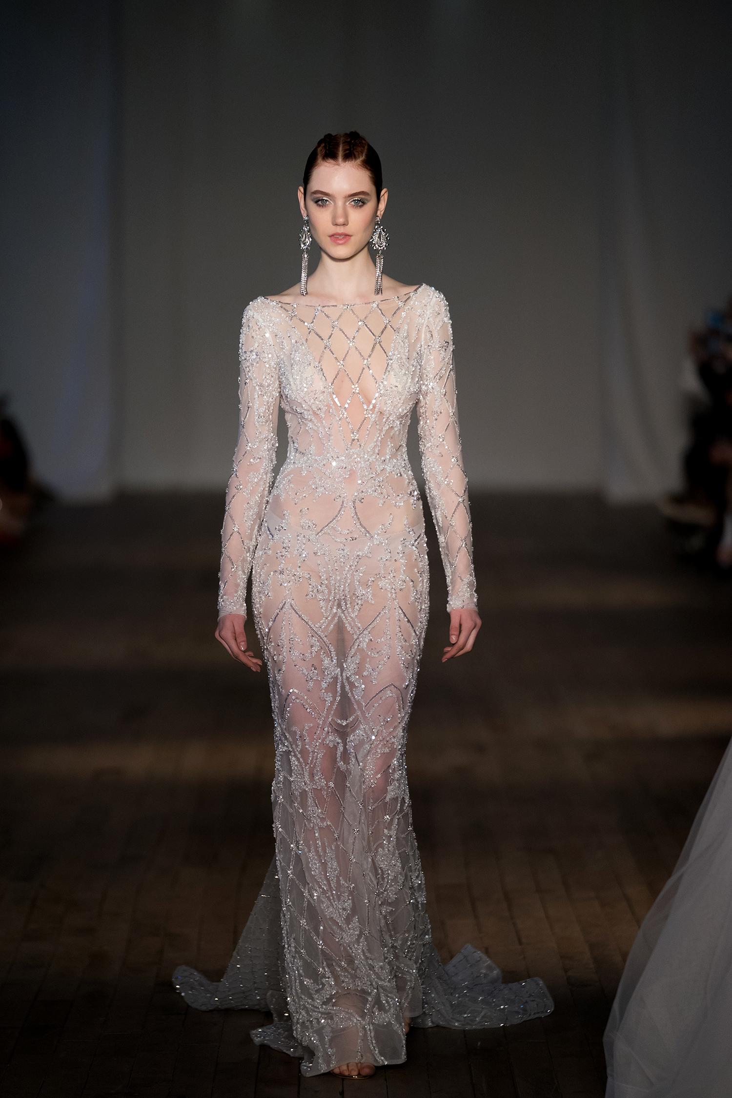 berta wedding dress spring 2019 sheer long-sleeved crystal details