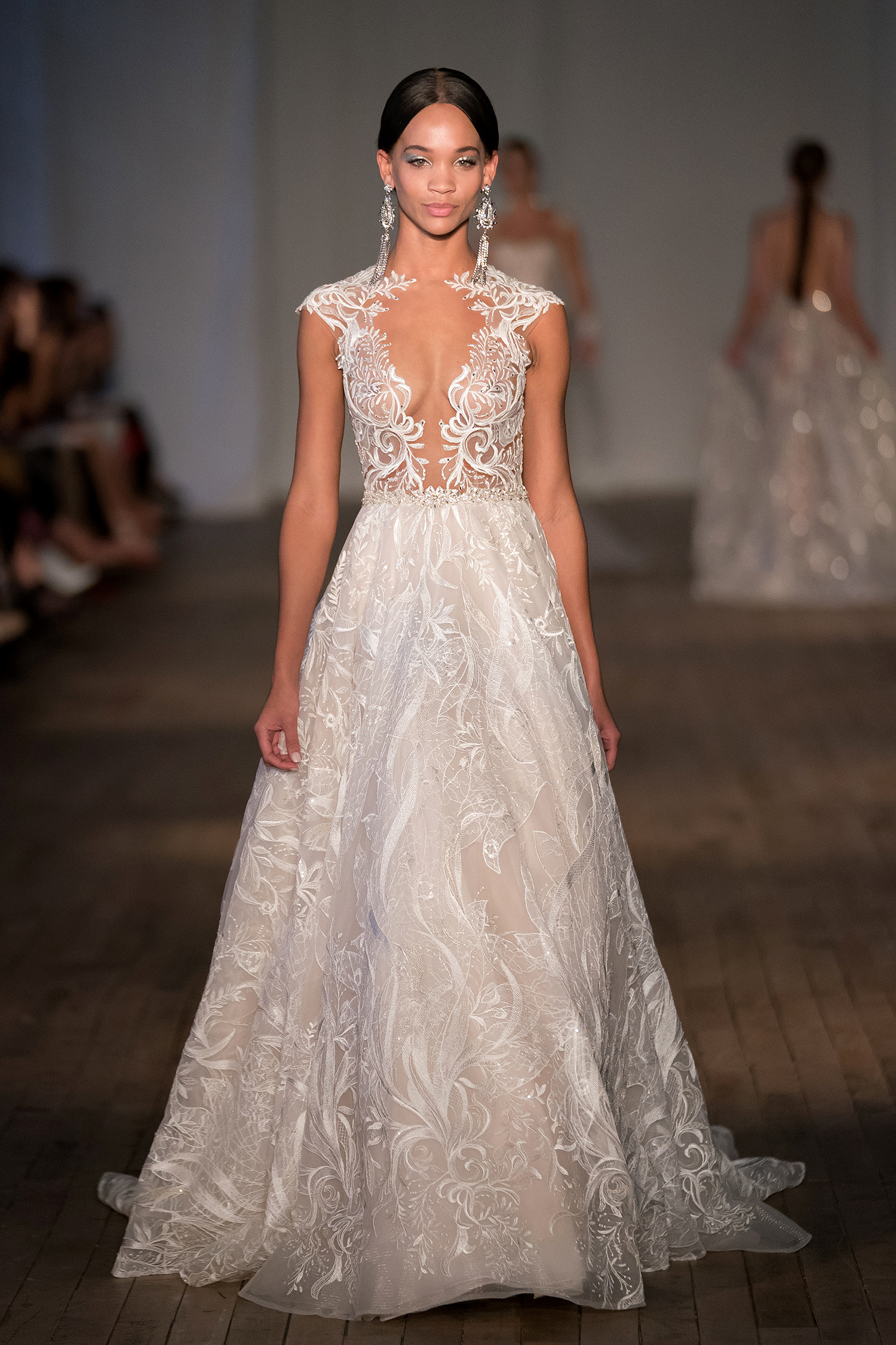 berta wedding dress spring 2019 plunging illusion cap-sleeve a-line