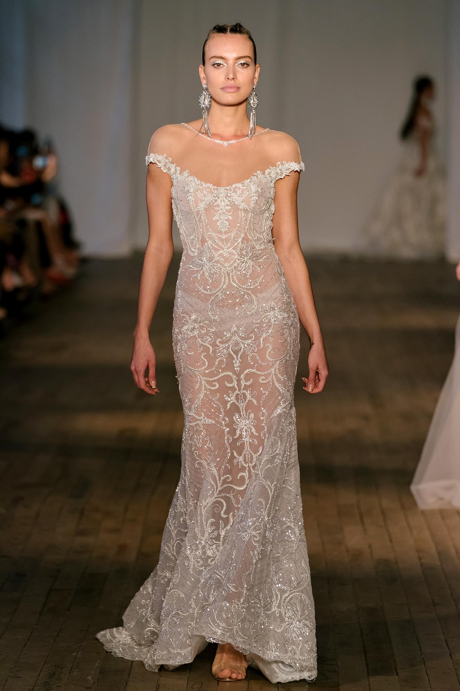berta wedding dress spring 2019 high illusion neck beaded sheath