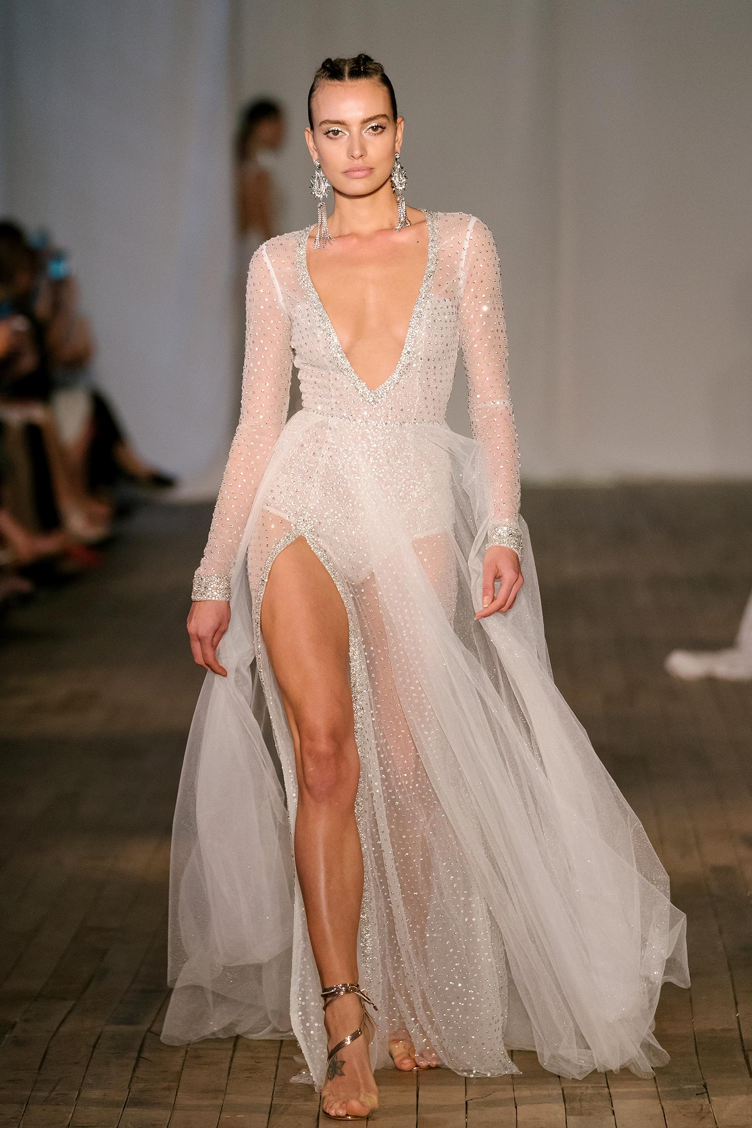 berta wedding dress spring 2019 long-sleeve bodysuit sheer skirt