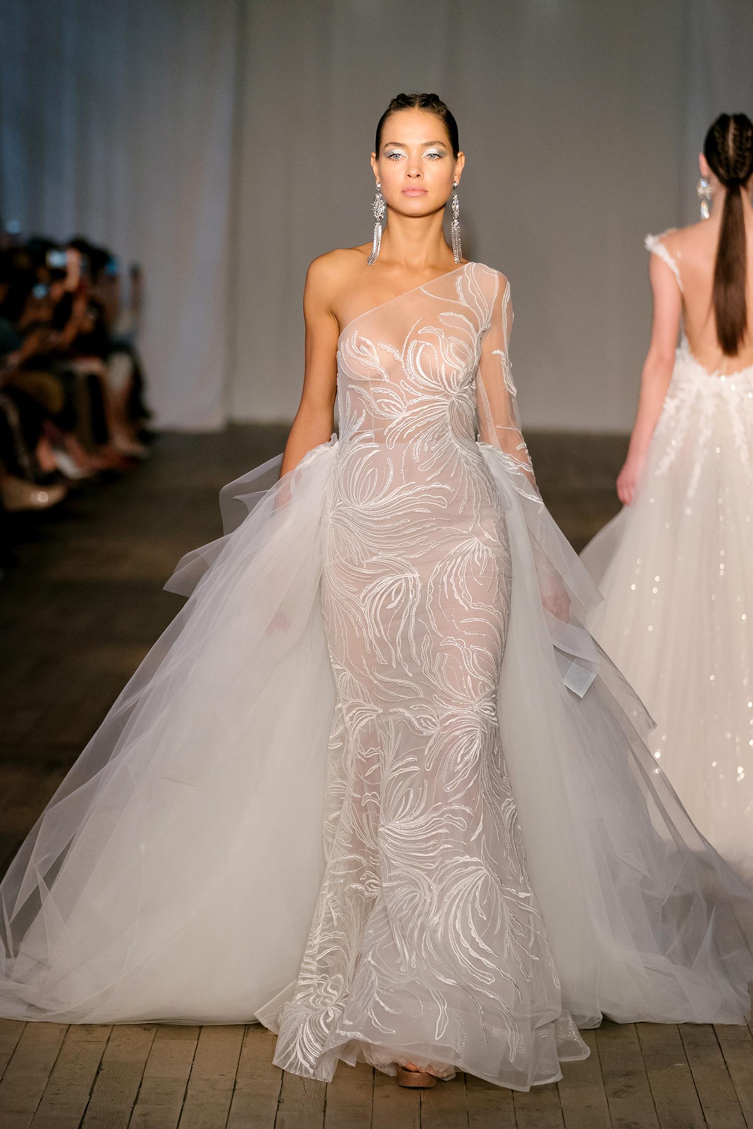 berta wedding dress spring 2019 sheer one-sleeved sheath train