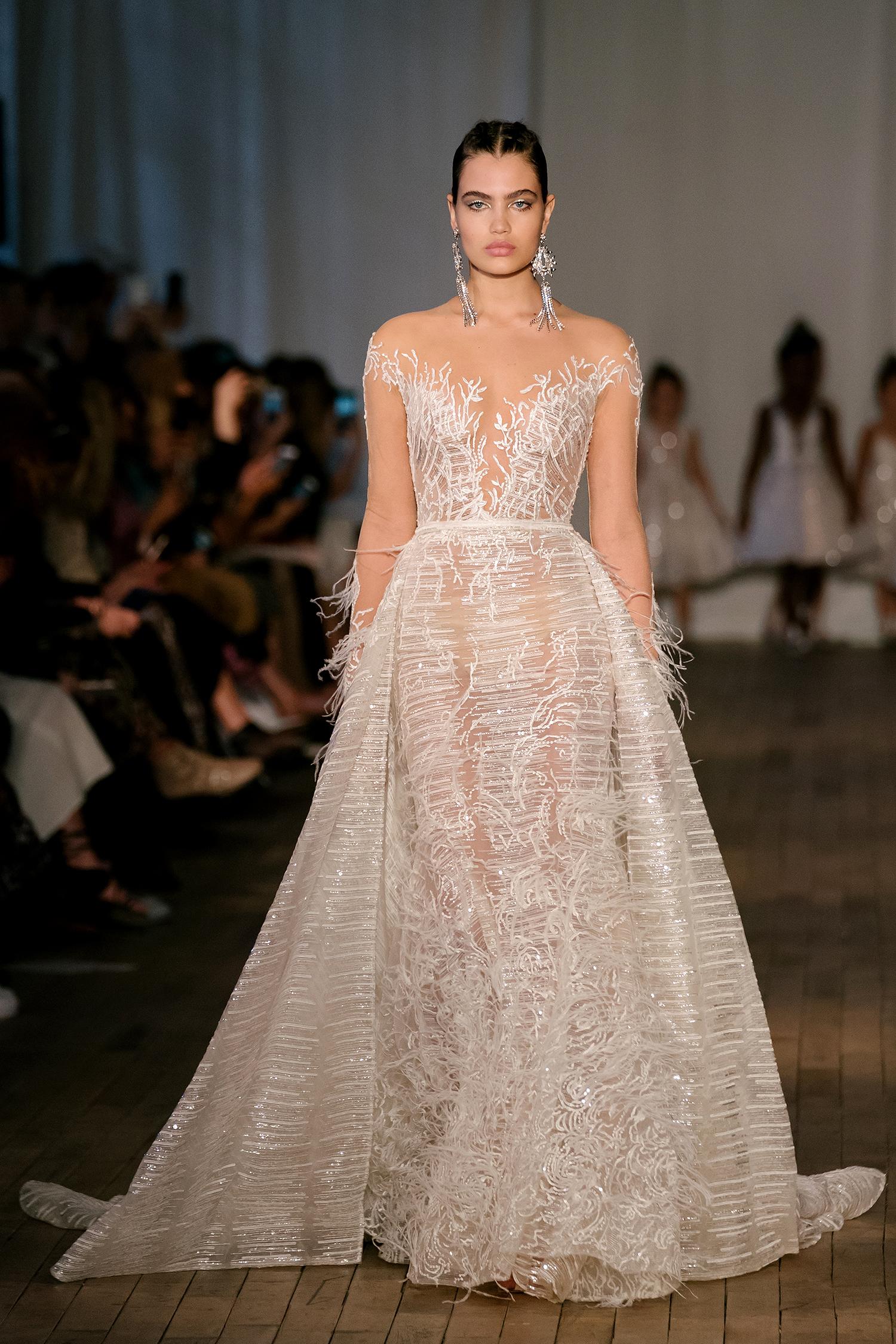 berta wedding dress spring 2019 illusion neck long-sleeved details
