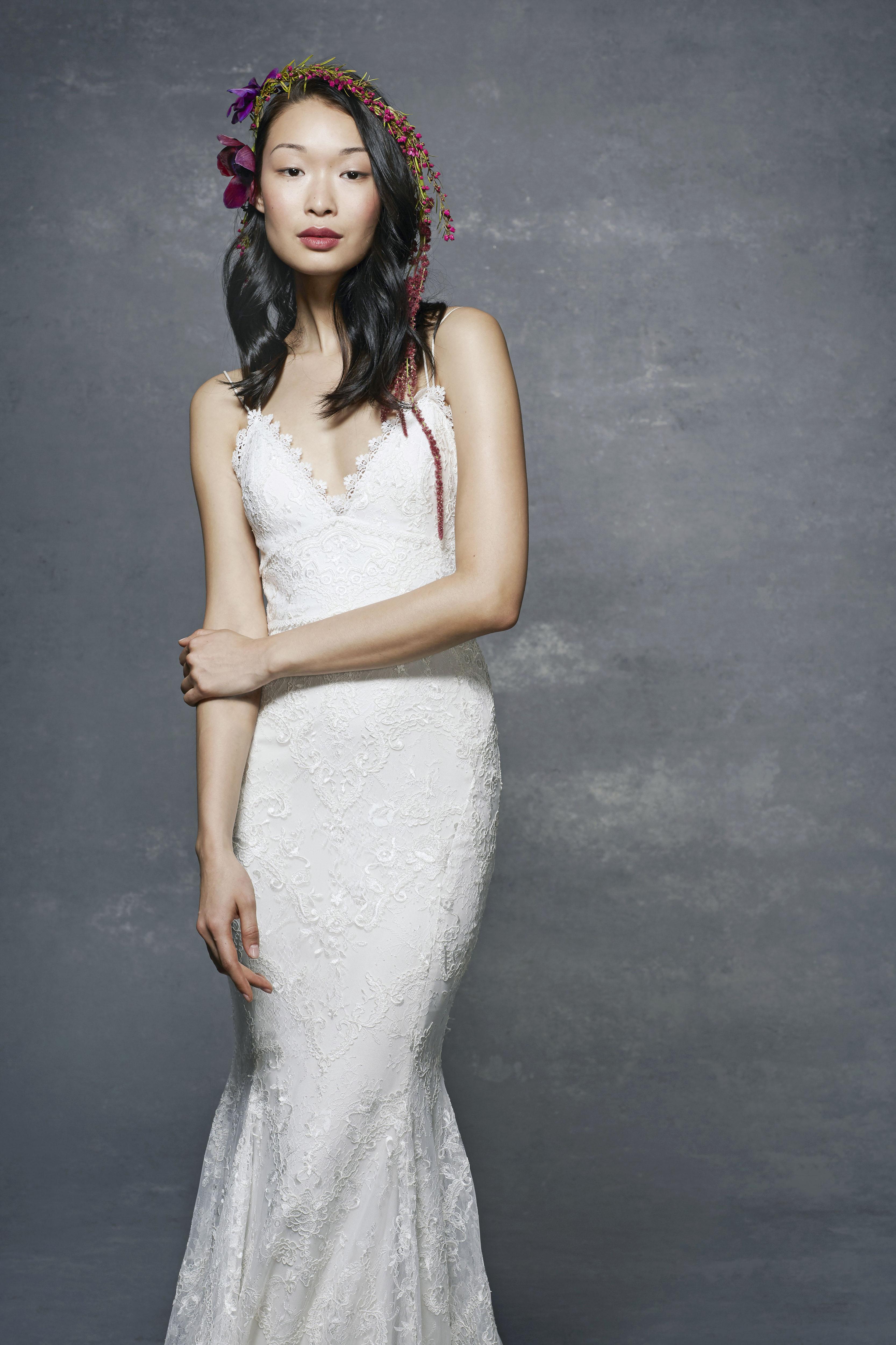 marchesa notte bridal wedding dress spaghetti strap v-neck