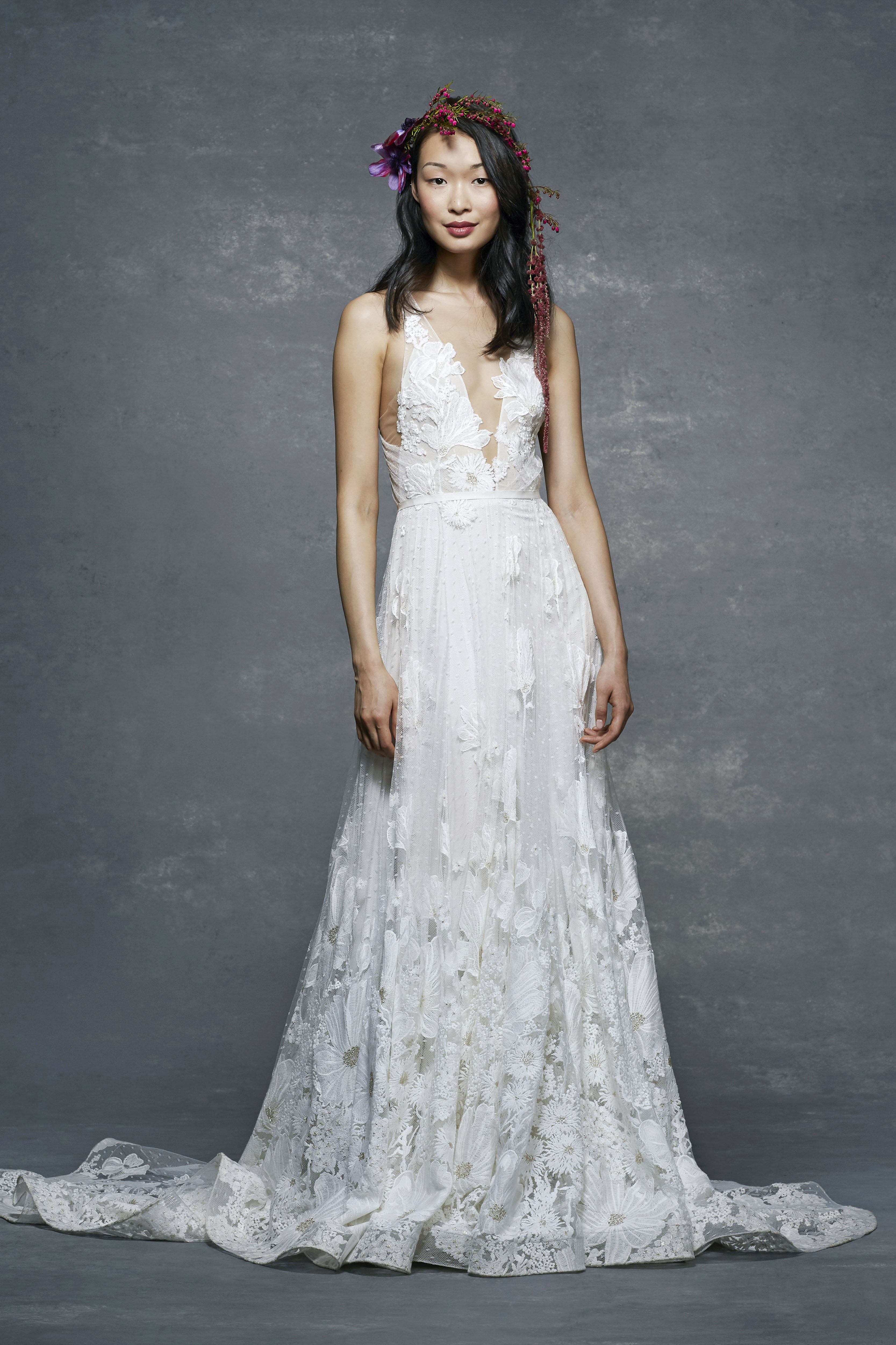 marchesa notte bridal wedding dress illusion v-neck