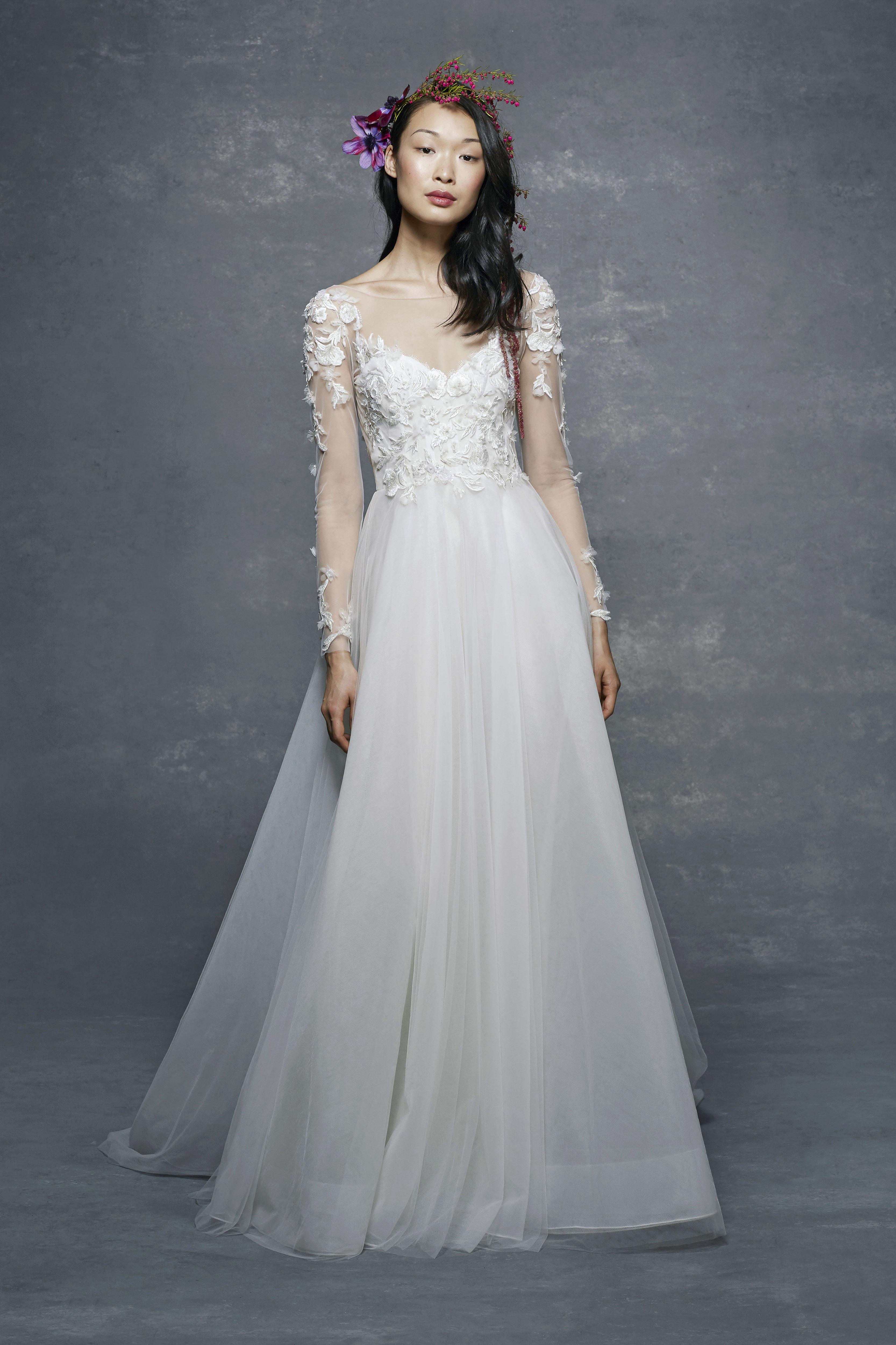 marchesa notte bridal wedding dress long sleeves illusion