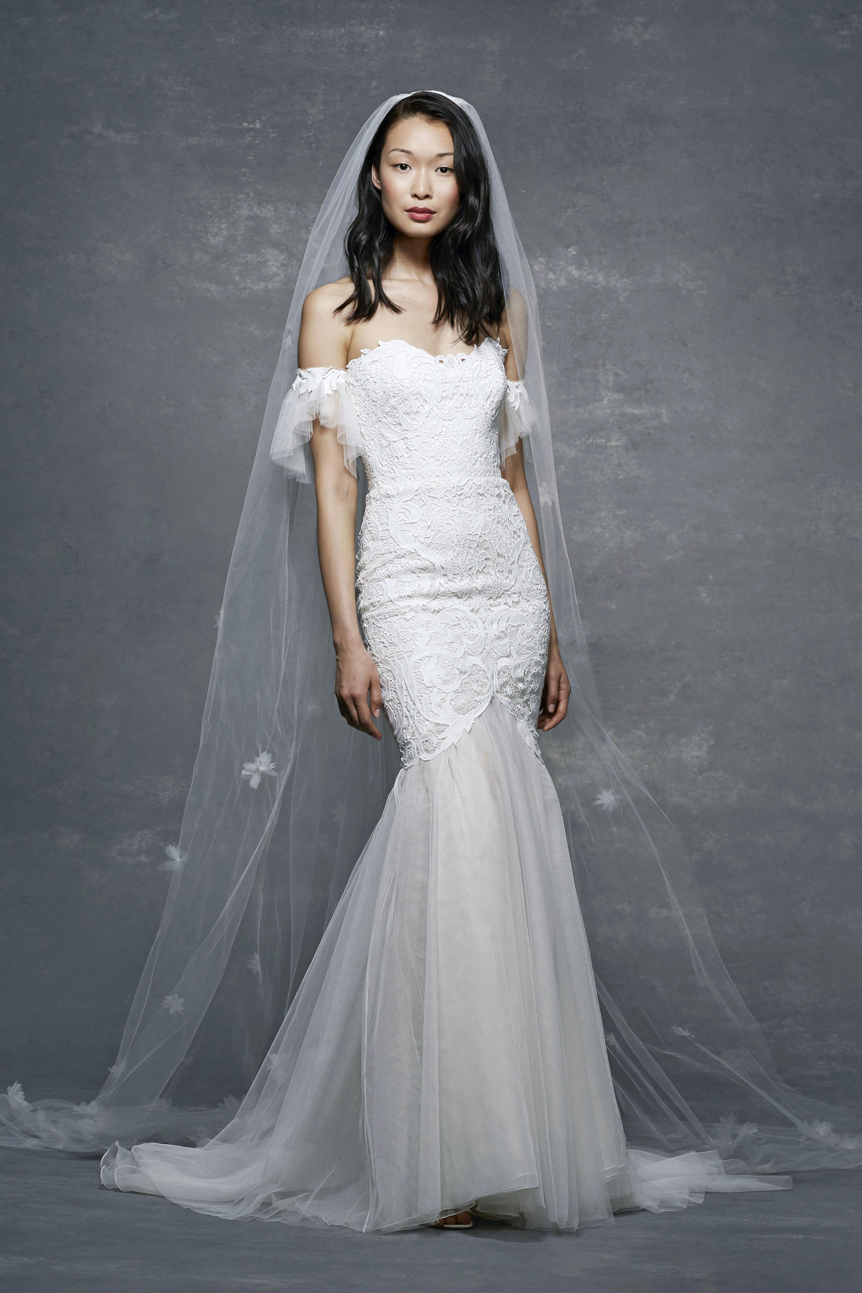 marchesa notte bridal wedding dress off-the-shoulder trumpet