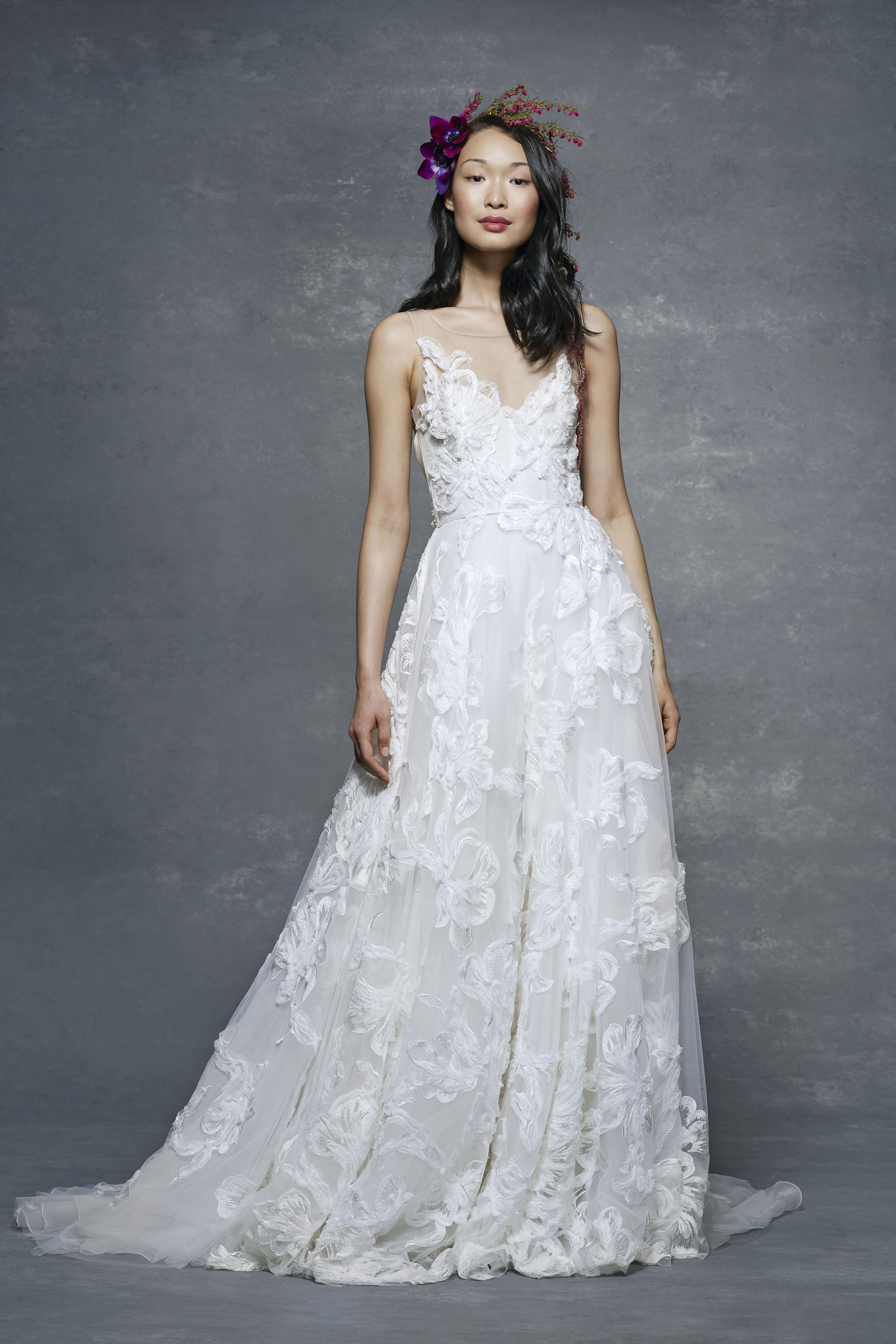 marchesa notte bridal wedding dress floral illusion ball gown