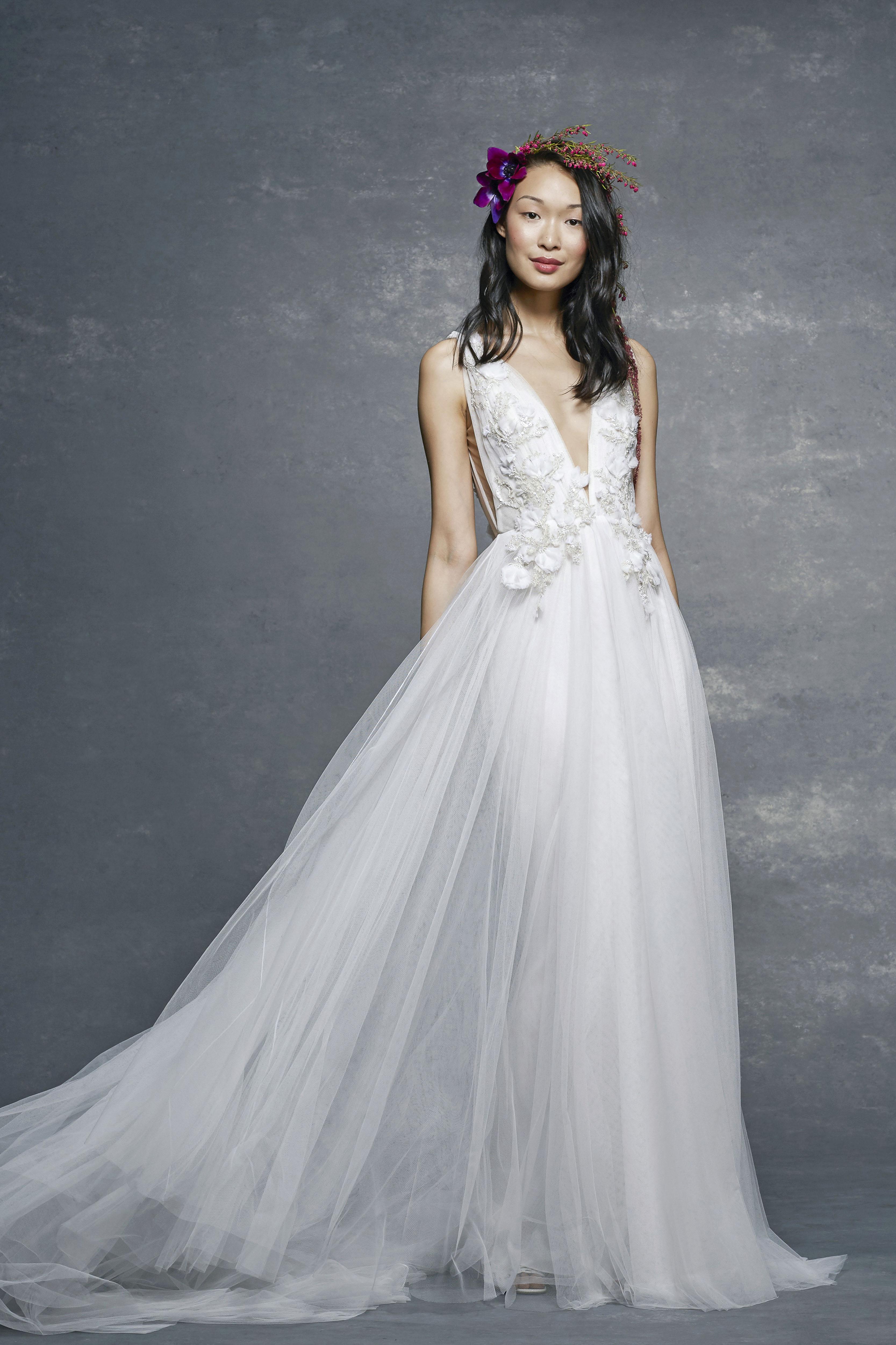 marchesa notte bridal wedding dress deep v-neck ball gown