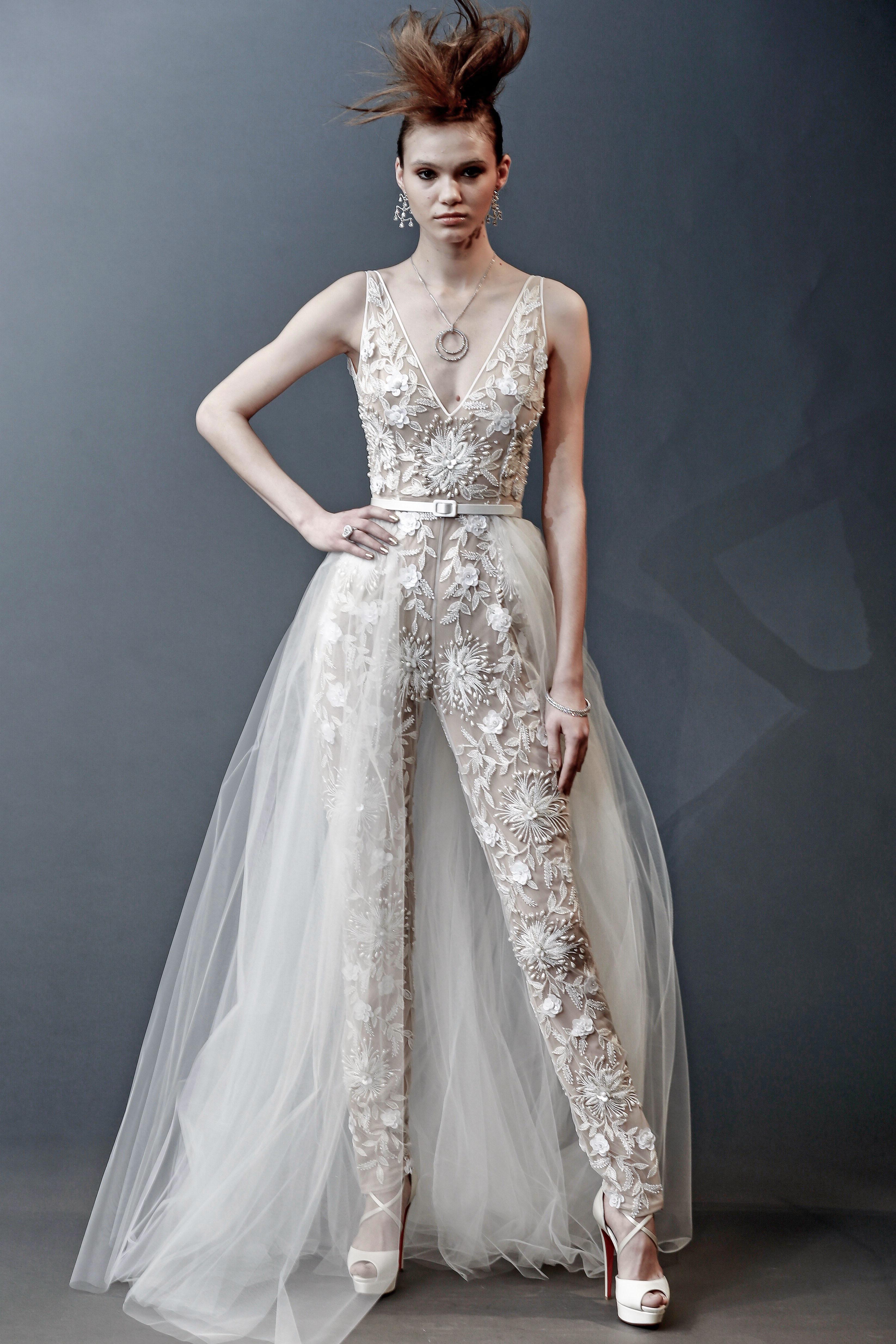 naeem khan sleeveless with train wedding dress spring 2019