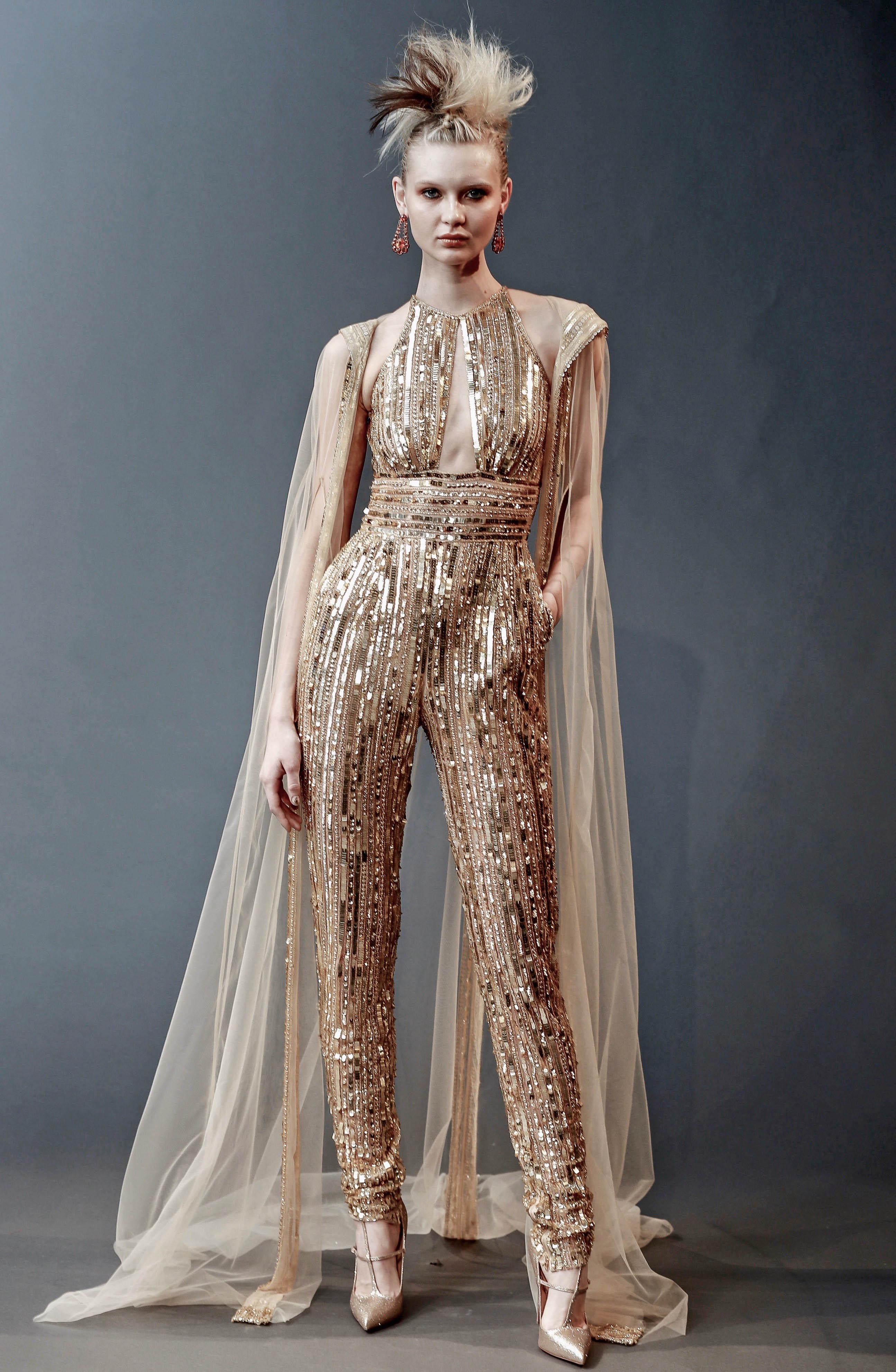 gold naeem khan long pants with cape wedding dress spring 2019