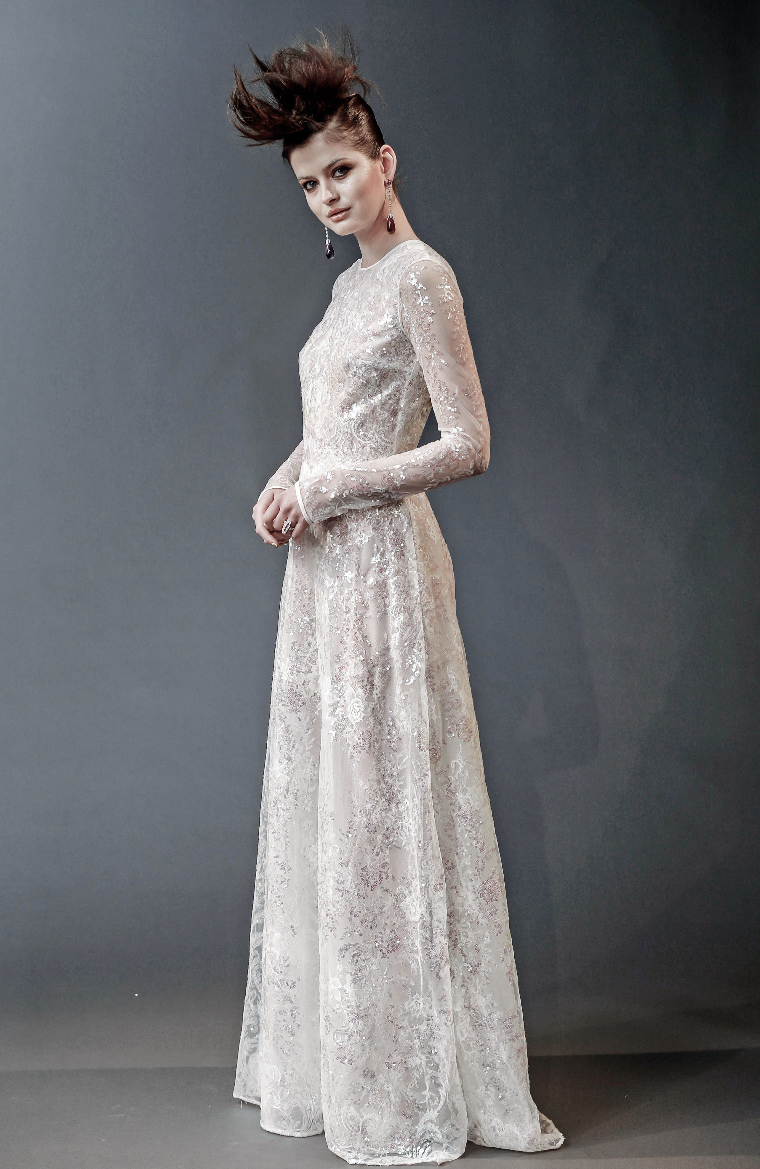 naeem khan sheer long sleeves wedding dress spring 2019