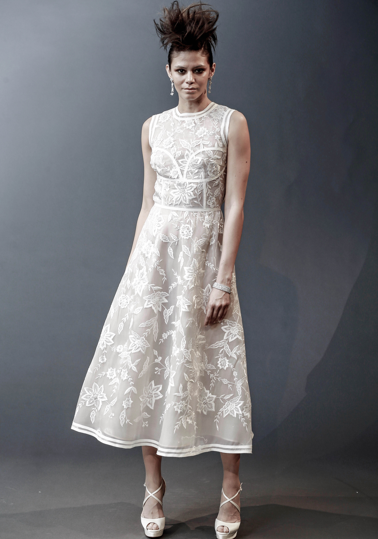 naeem khan off-the-shoulder tea length wedding dress spring 2019