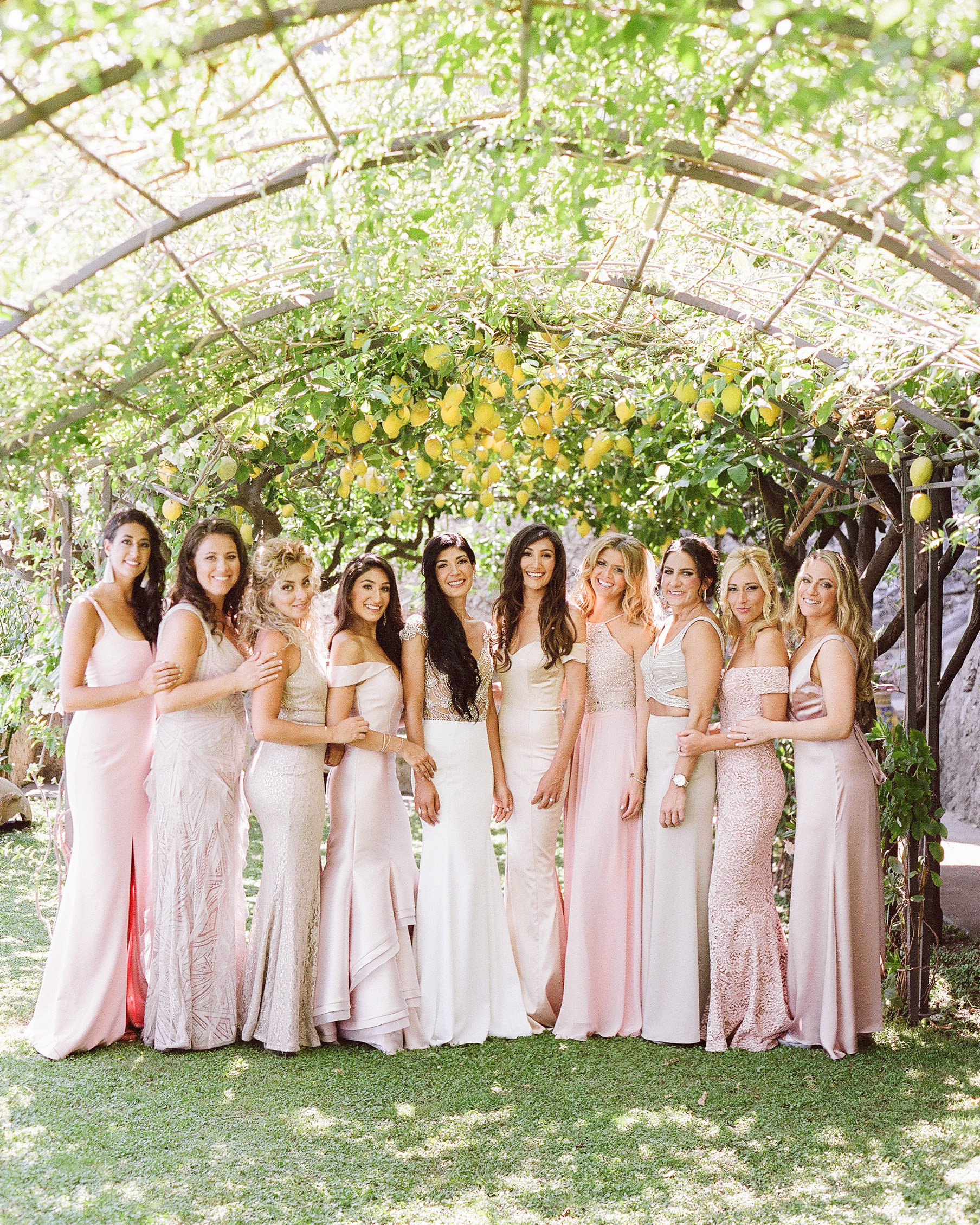 lisa greg italy wedding bridesmaids bride arch