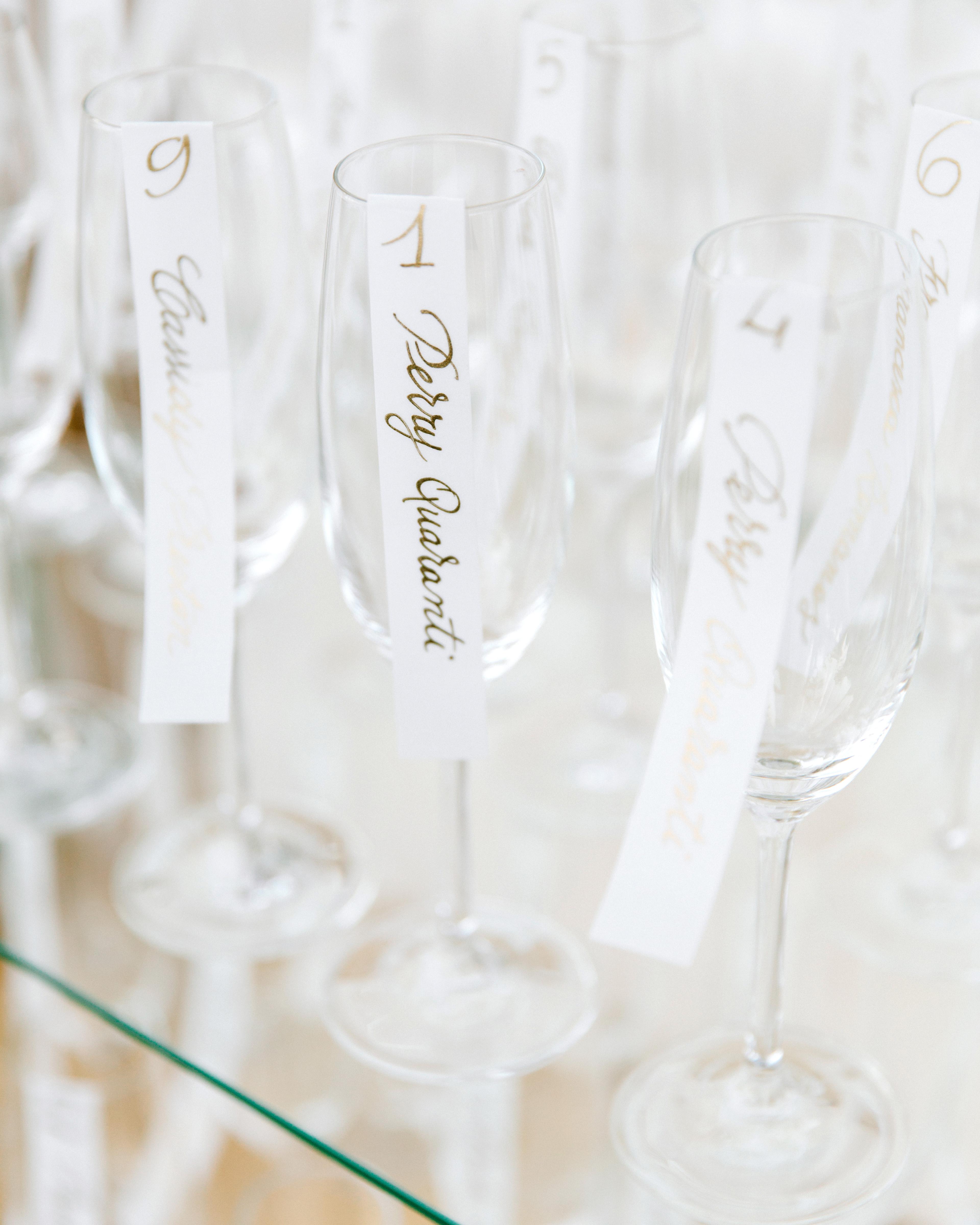 lisa greg italy wedding escort cards flutes