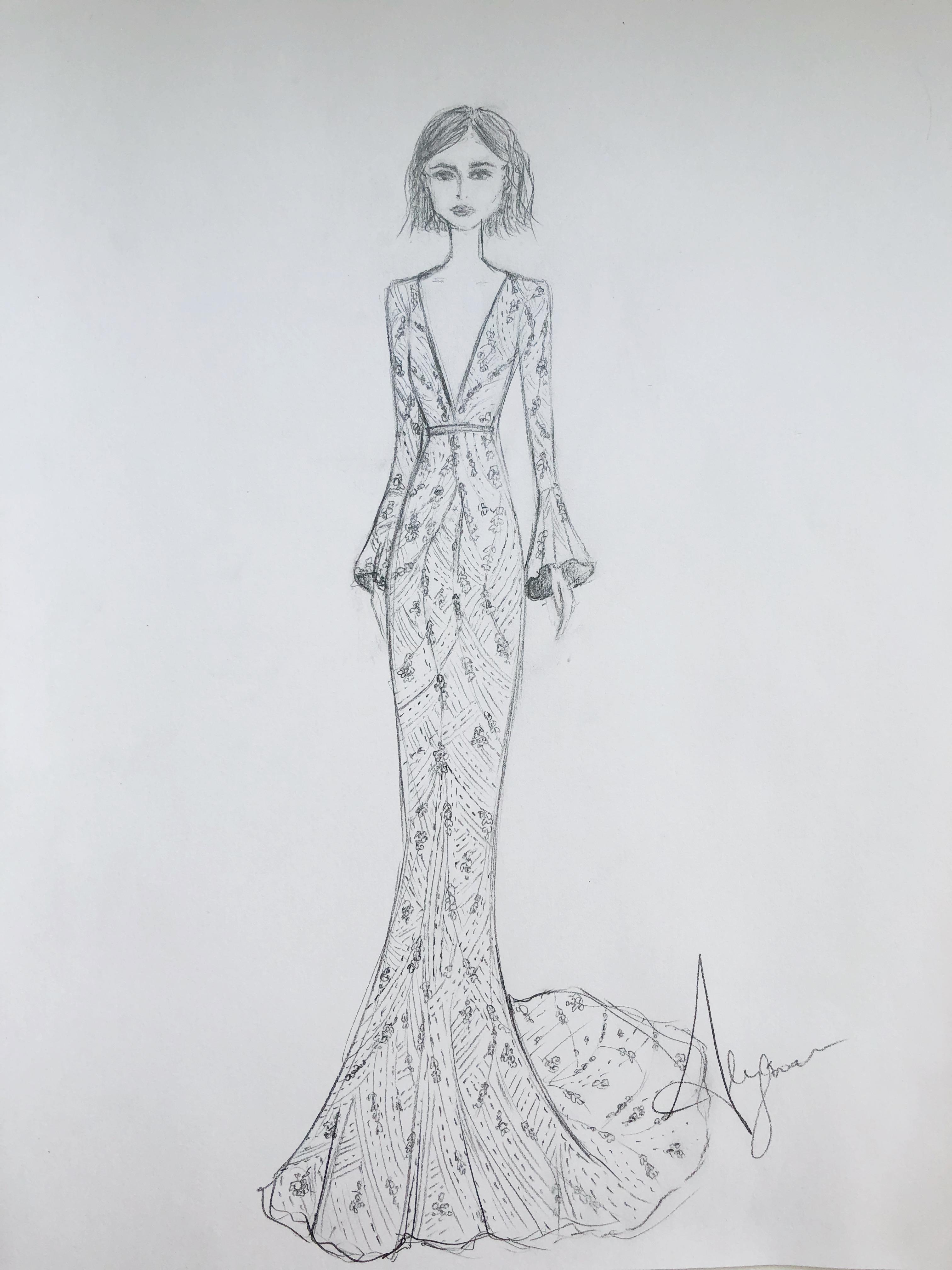 Alexandra Grecco Spring 2019 Dress Sketch