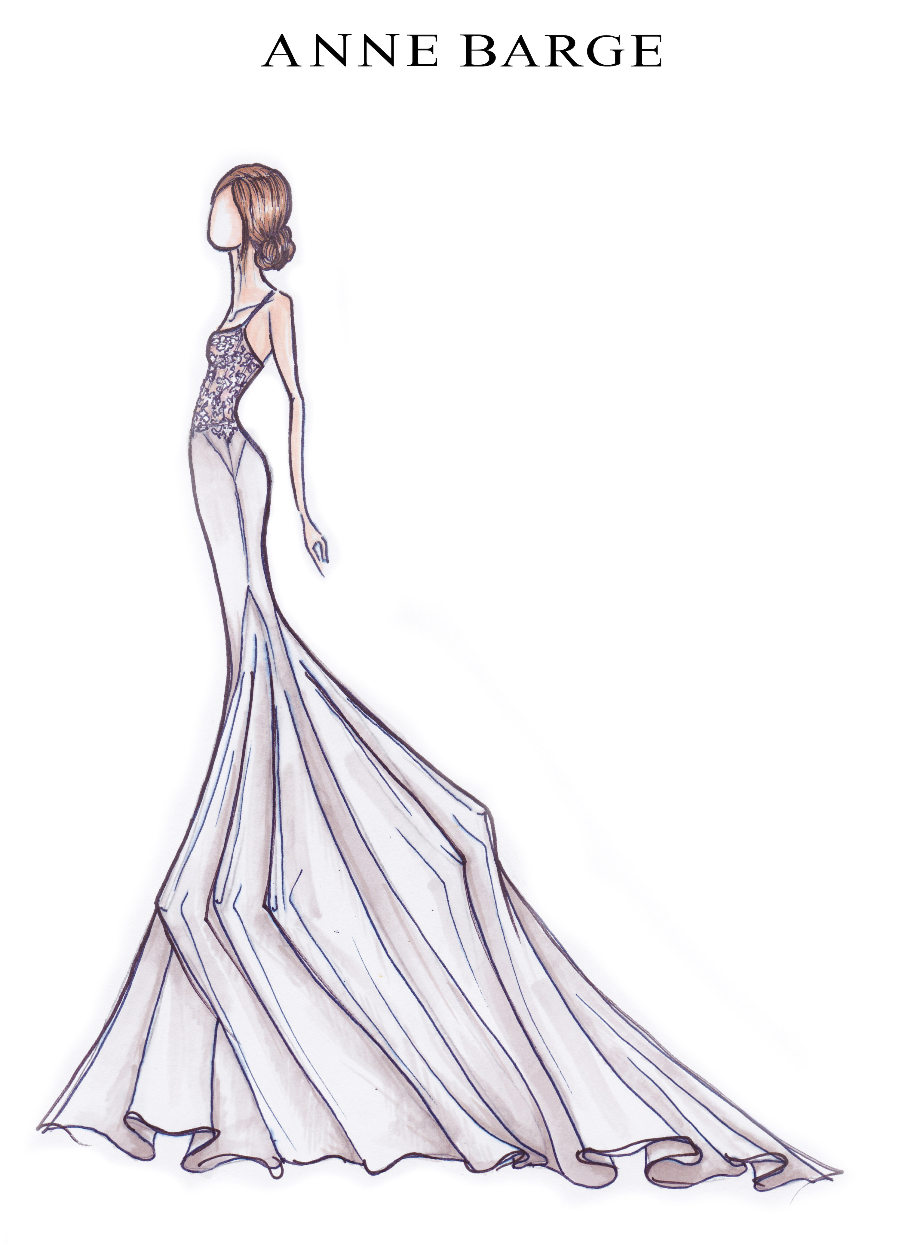 Anne Barge Spring 2019 Bridal Fashion Week Preview Sketch