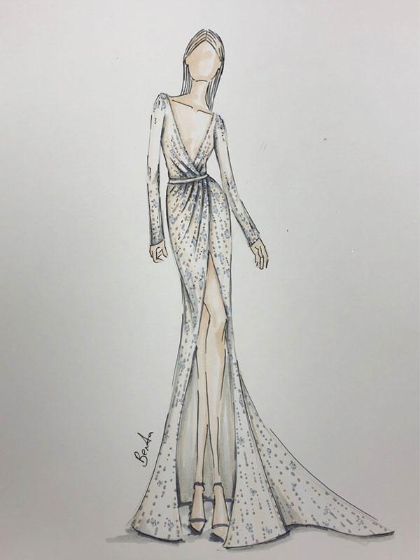 Spring 2019 Bridal Fashion Week Preview Sketch, Berta
