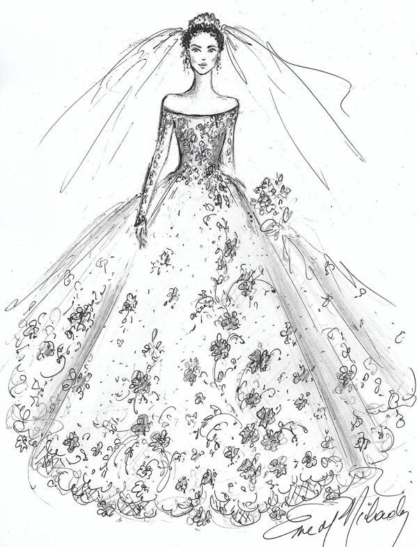 off shoulder wedding dress sketch