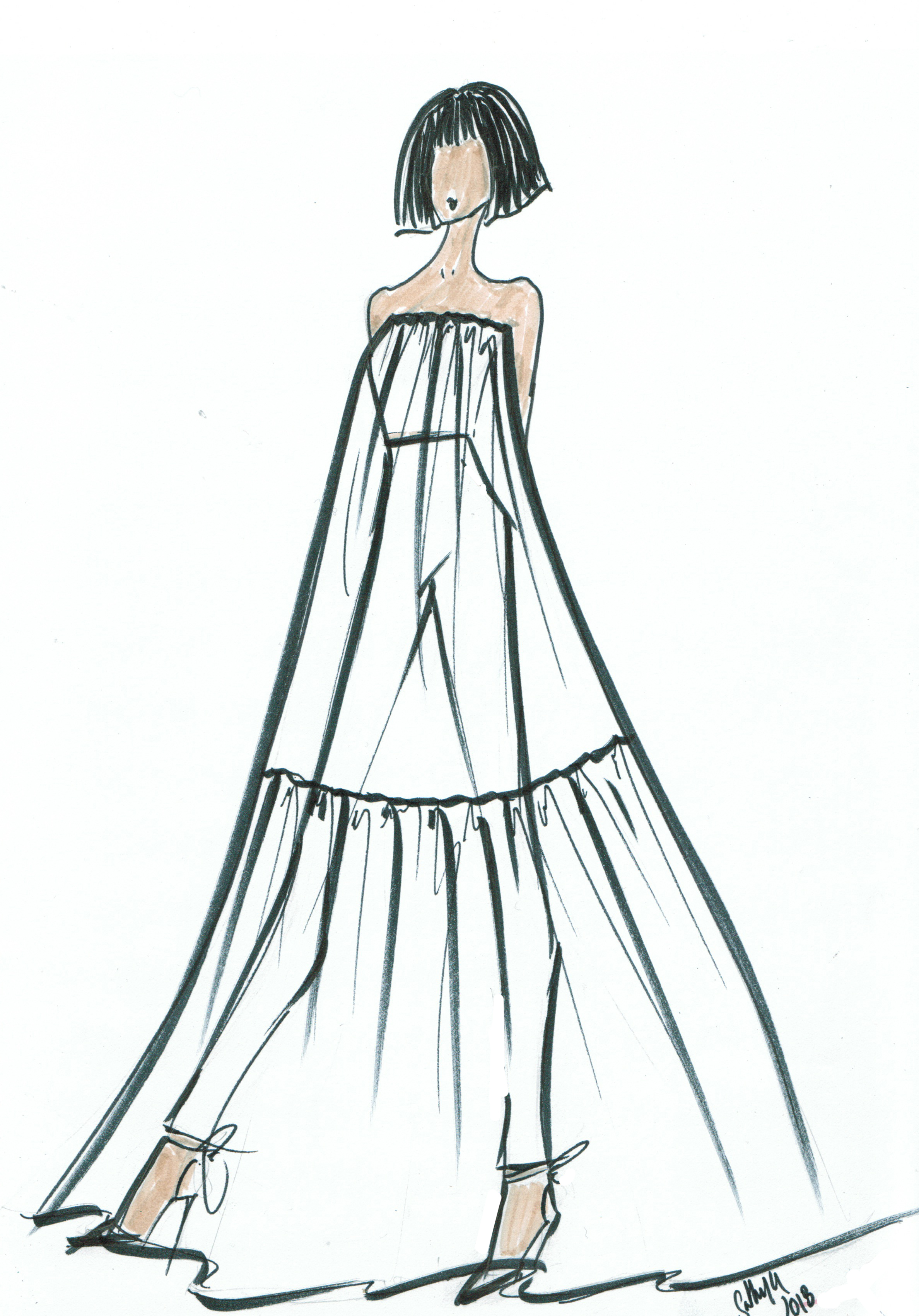 Spring 2019 Bridal Fashion Week Preview Sketch, Lakum