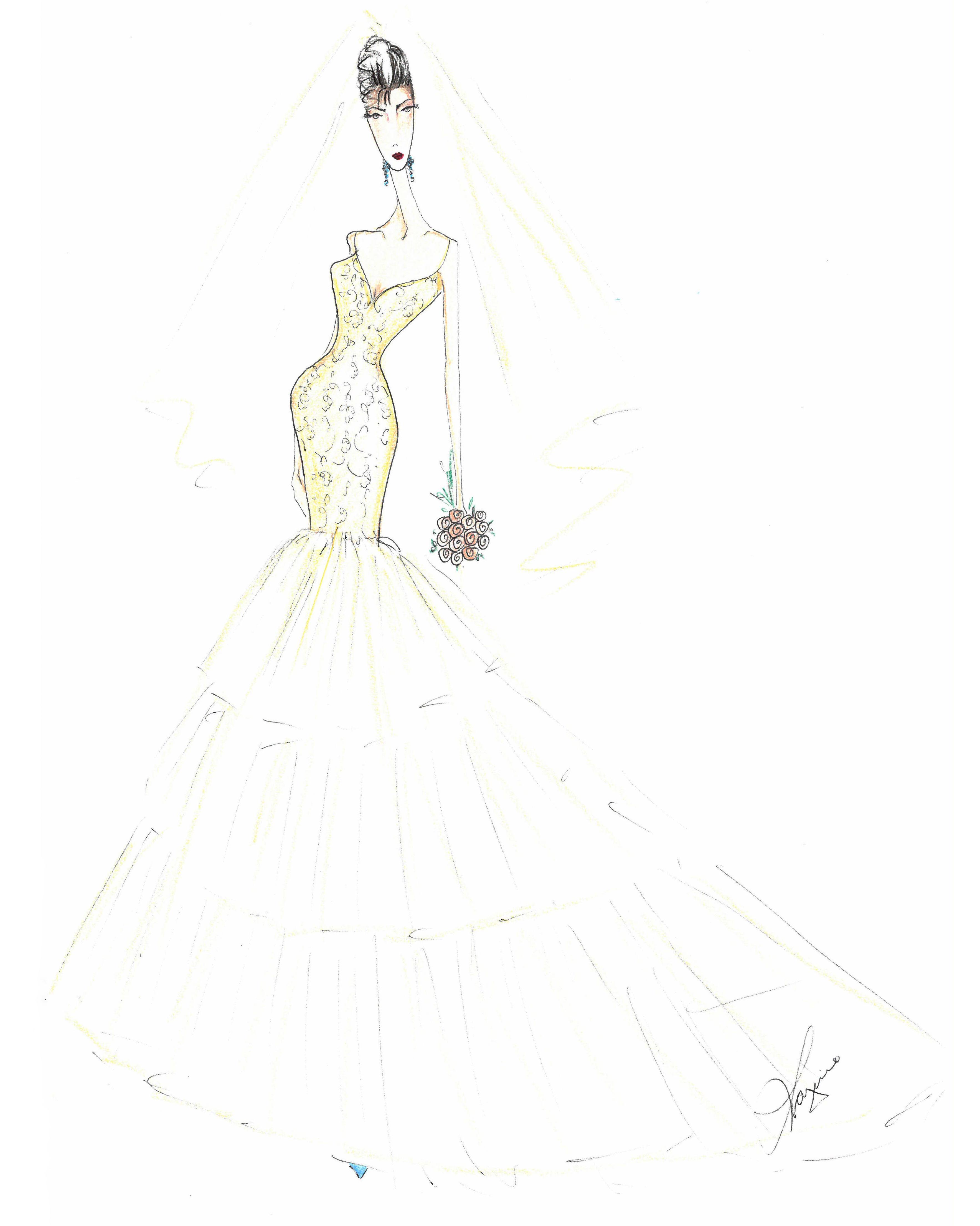 lazaro wedding dress sketch
