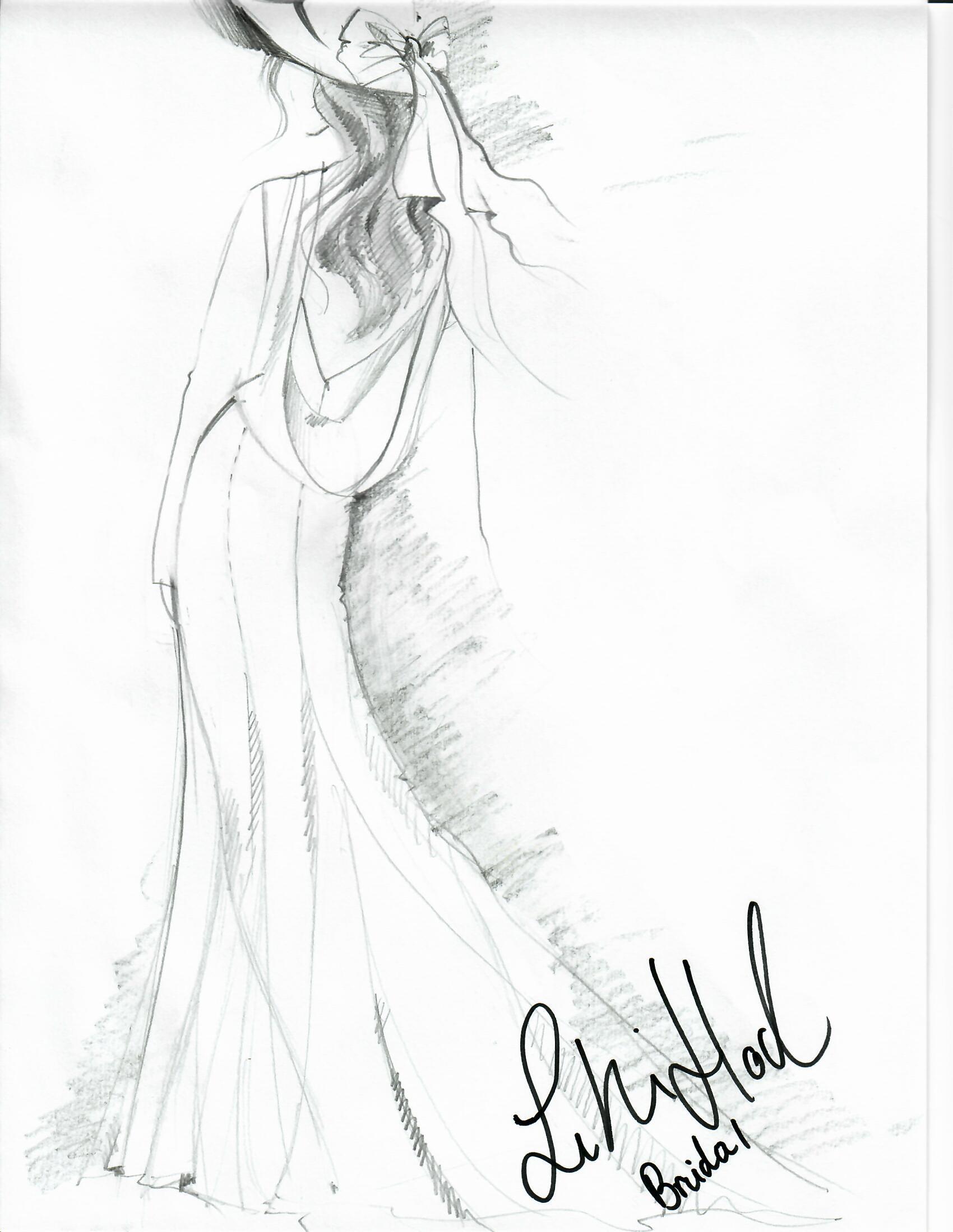 lihi hod wedding dress sketch