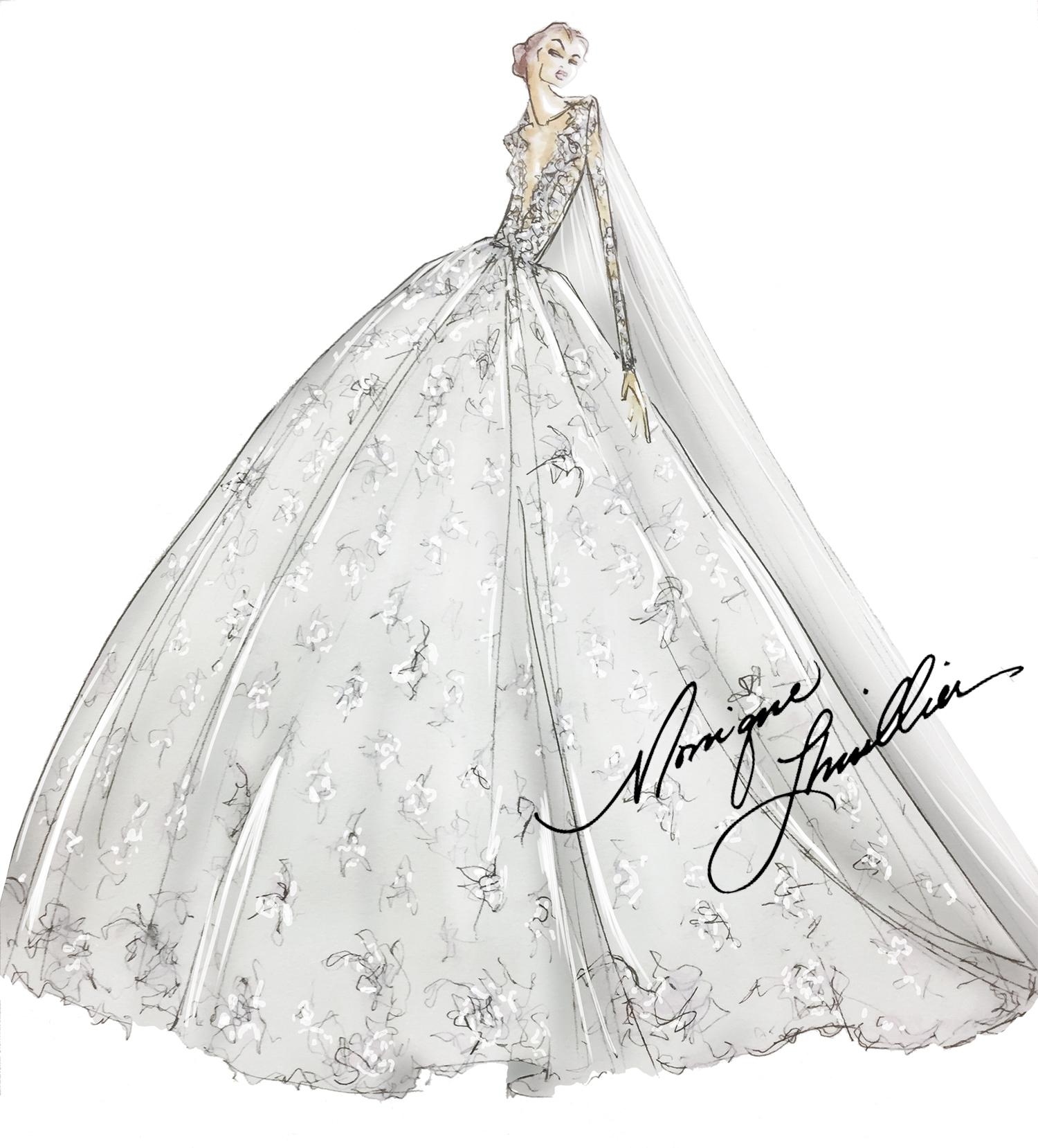 Spring 2019 Bridal Fashion Week Preview Sketch, Monique Lhuillier