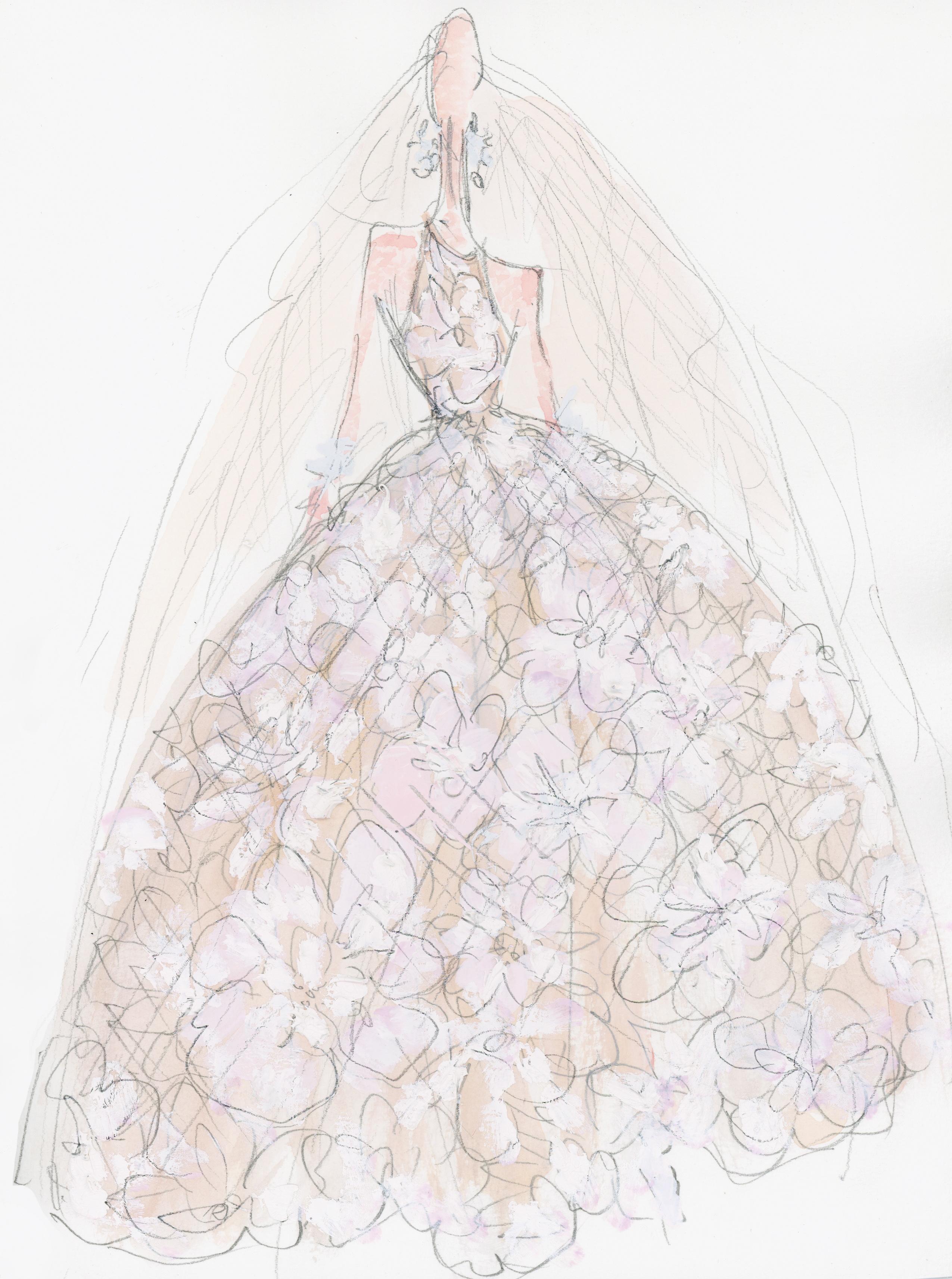 naeem khan wedding dress sketch