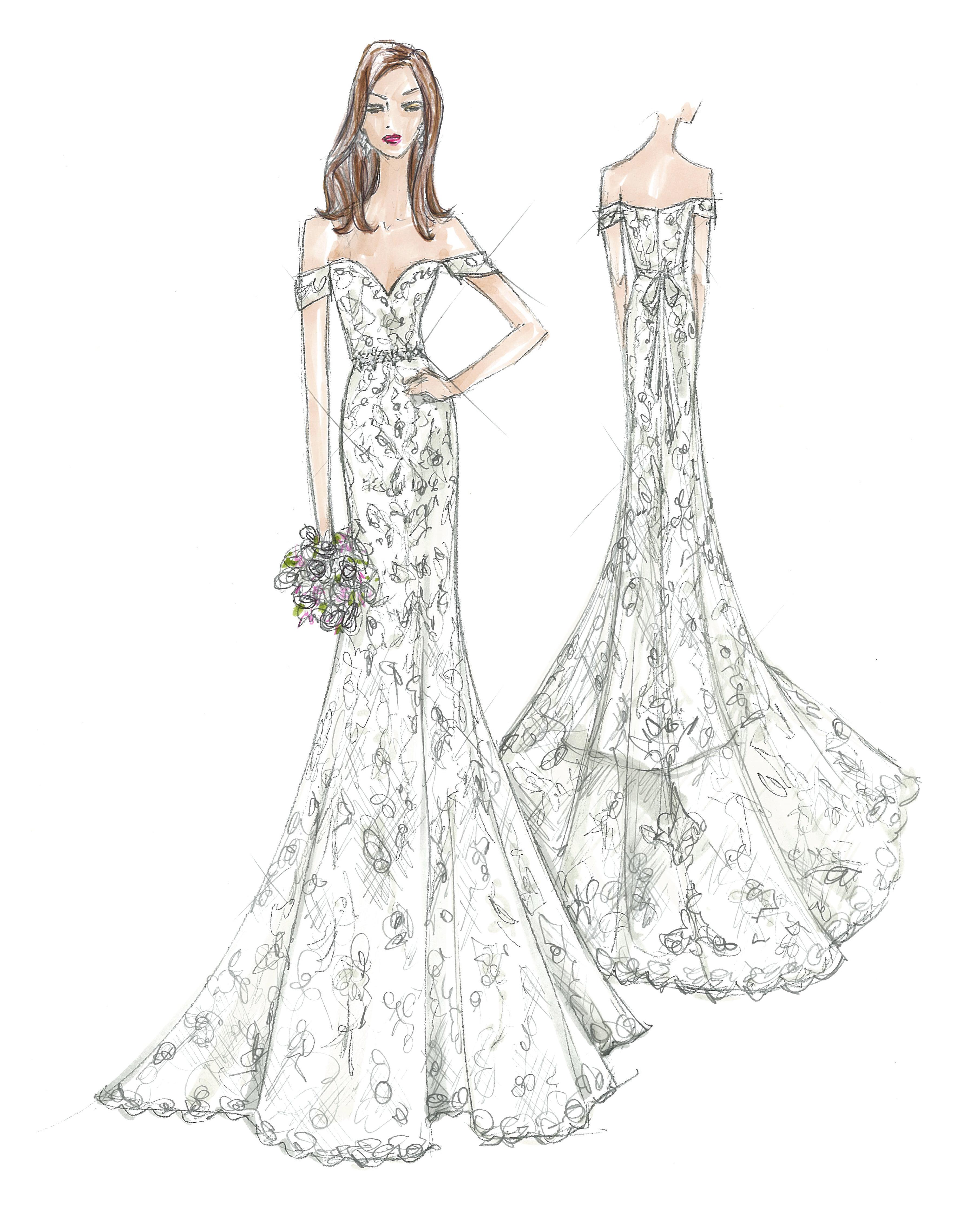 oleg cassini wedding dress sketch
