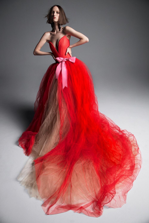 vera wang wedding dress spring 2019 red deep-v ball gown