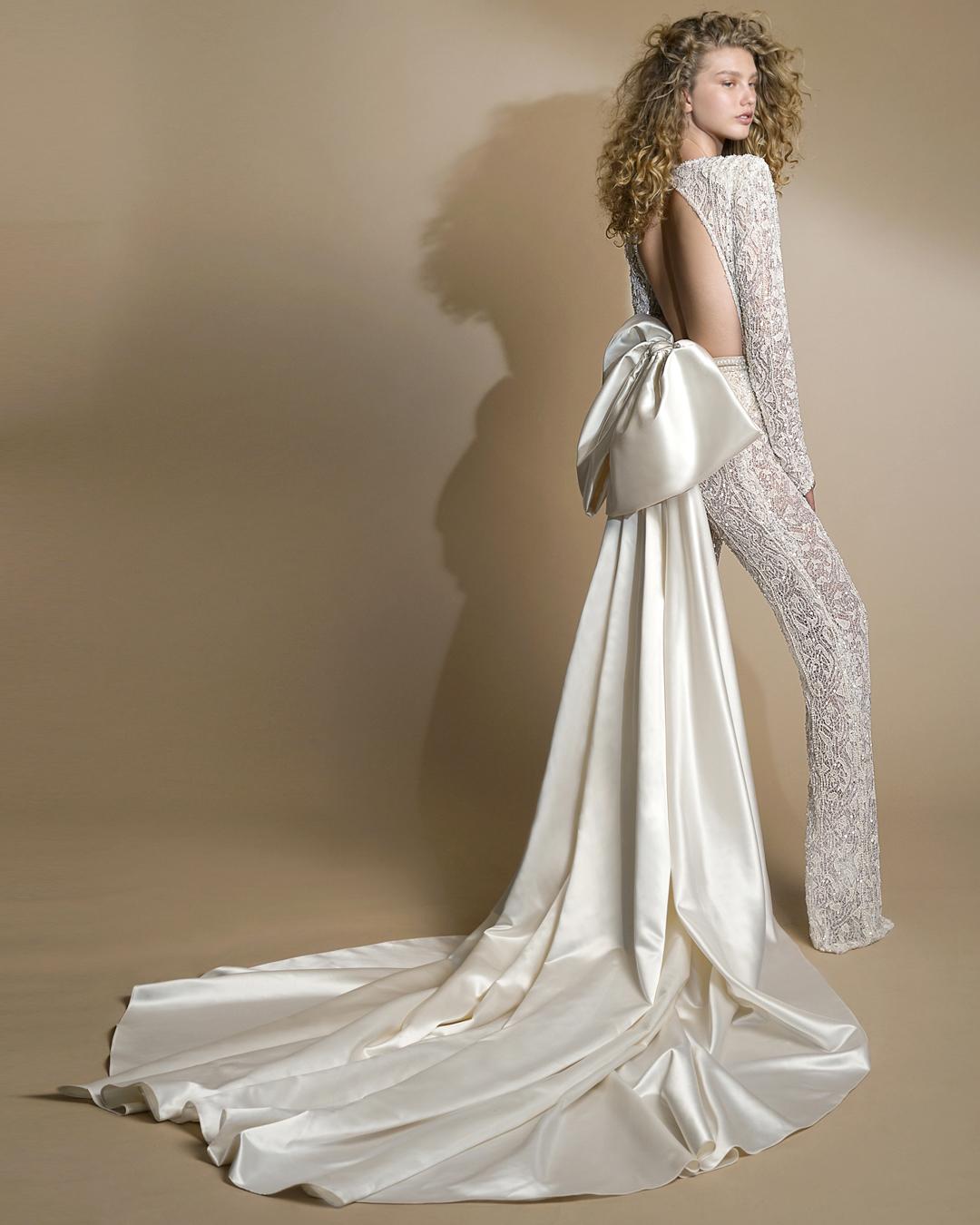 galia lahav gala wedding dress spring 2019 back lace pant suit satin bow train