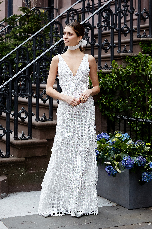 lela rose wedding dress spring 2019 v-neck fringed pattern