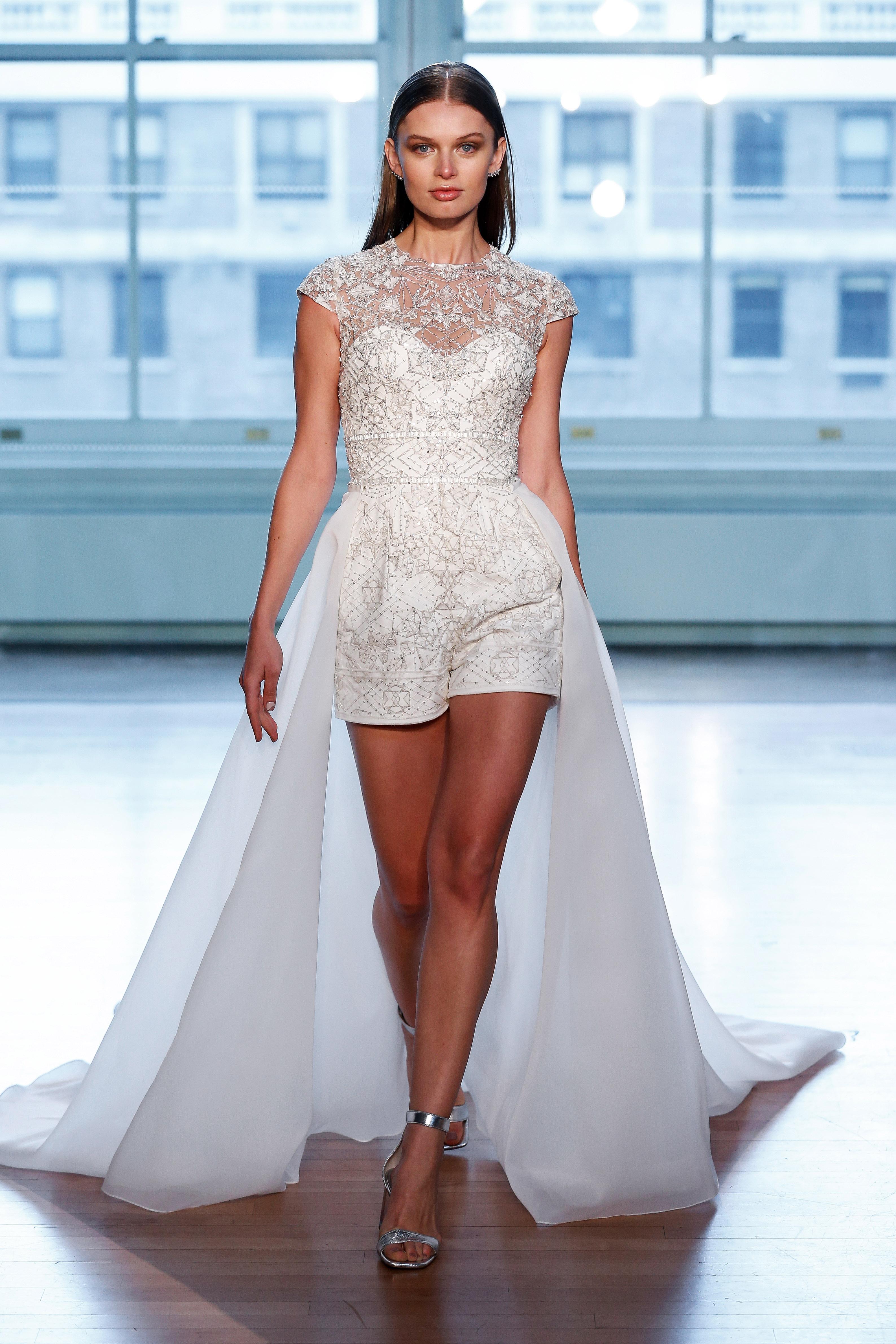 justin alexander wedding dress spring 2019 shorts jumper illusion
