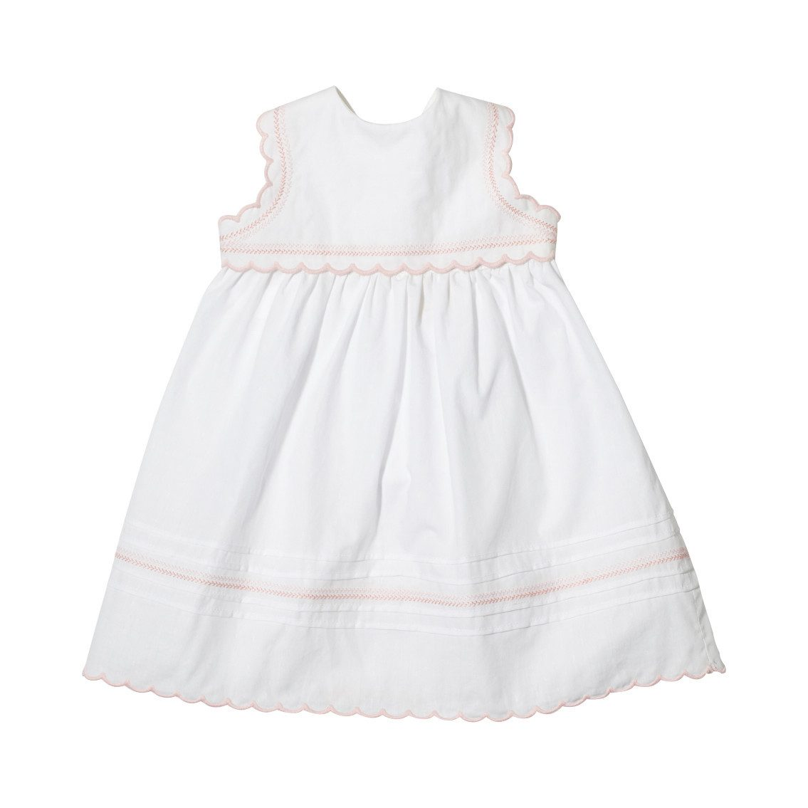 Oso & Me Sleeveless White Flower Girl Dress with Pink Detailing