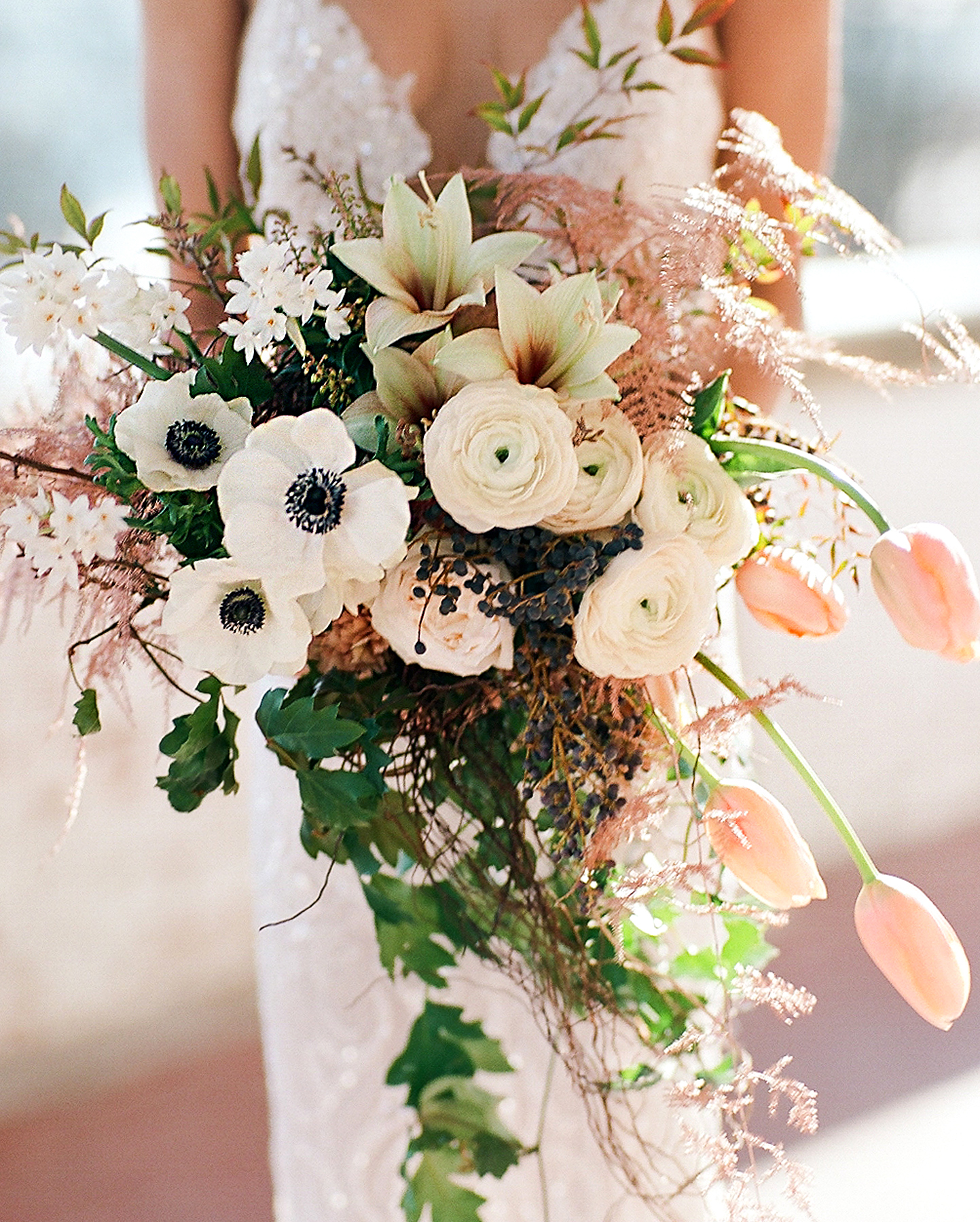 Carry a Cascading Bridal Bouquet with Native Blooms