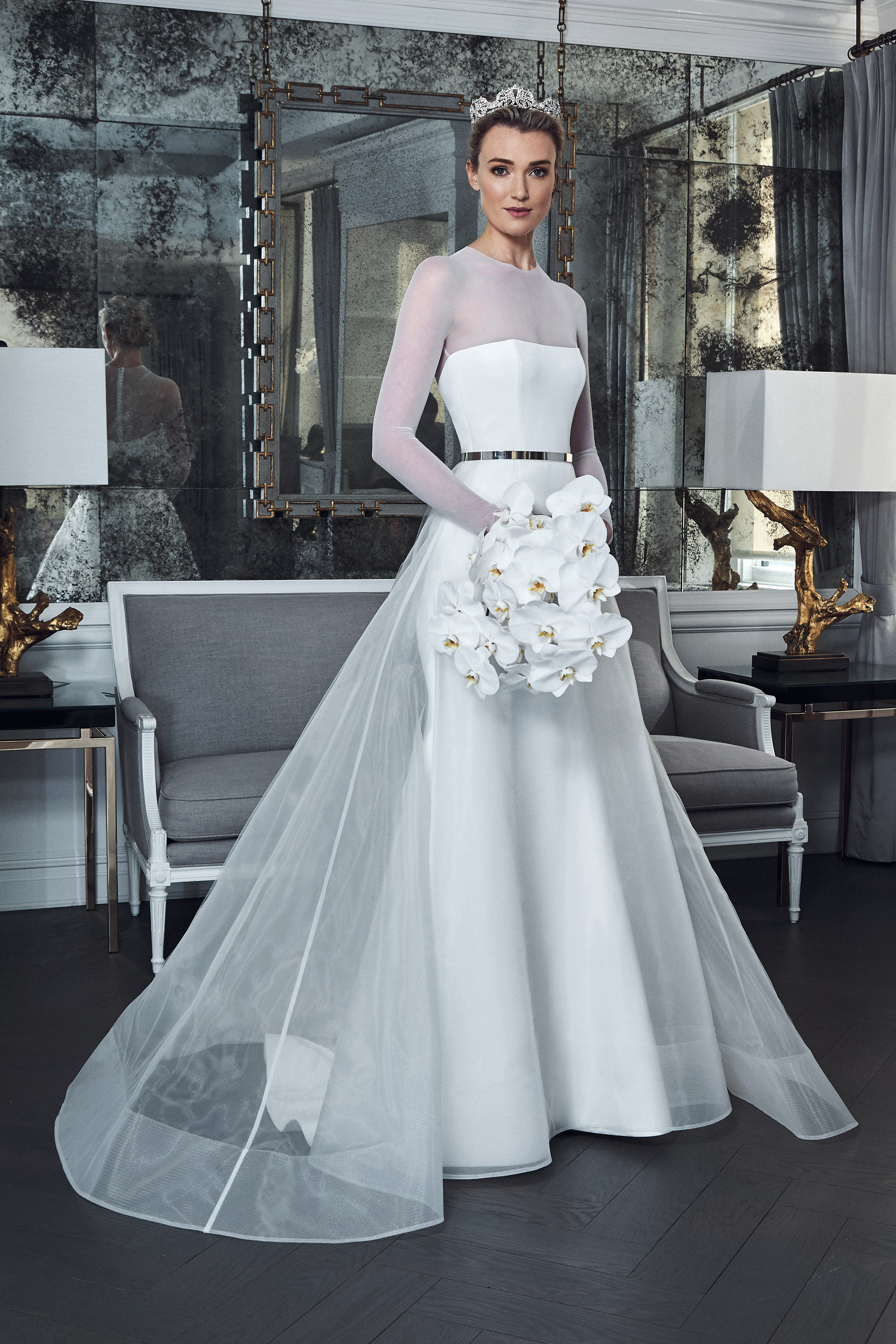 romona keveza collection wedding dress spring 2019 long sleeves illusion belt a-line