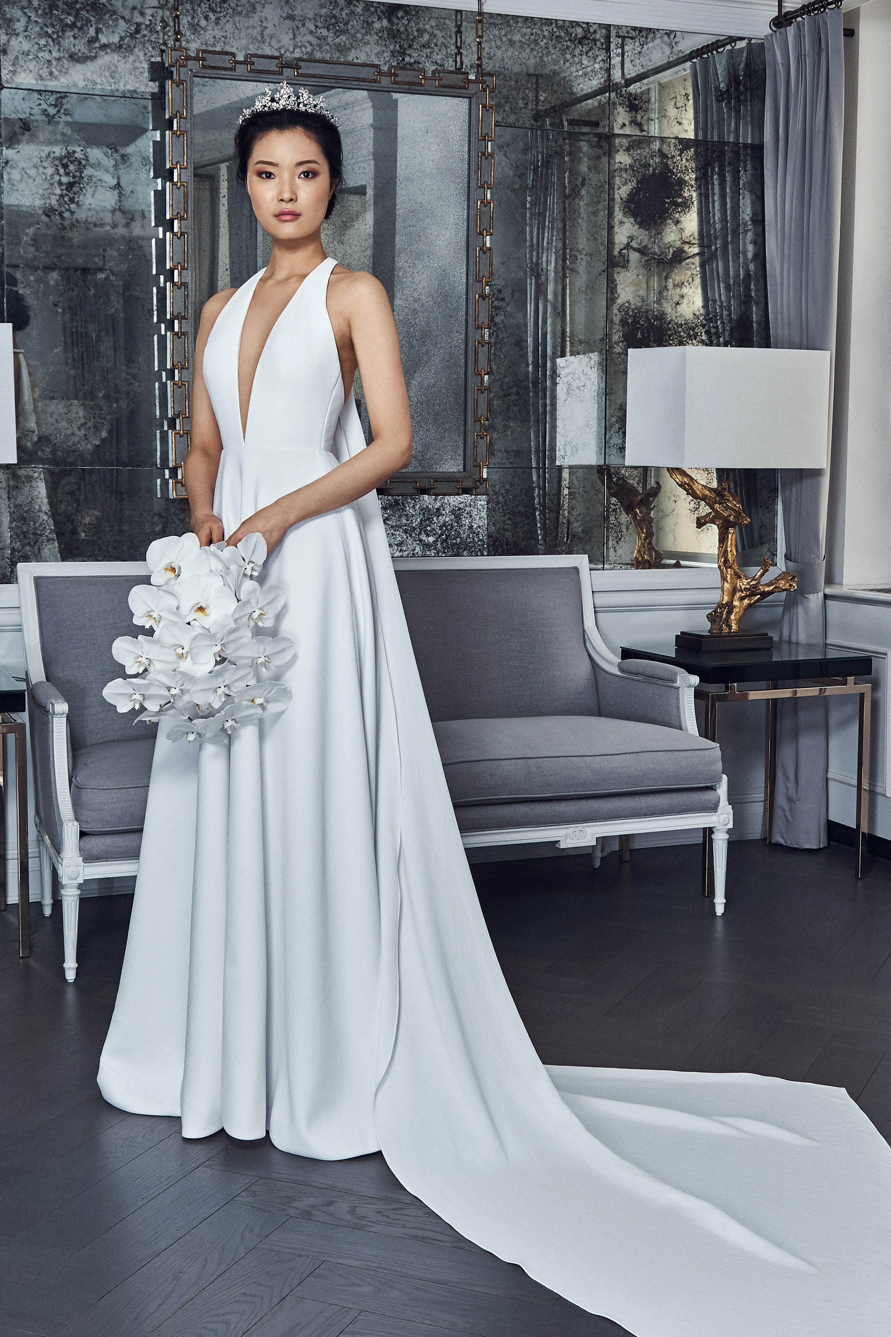 romona keveza collection wedding dress spring 2019 deep v a-line