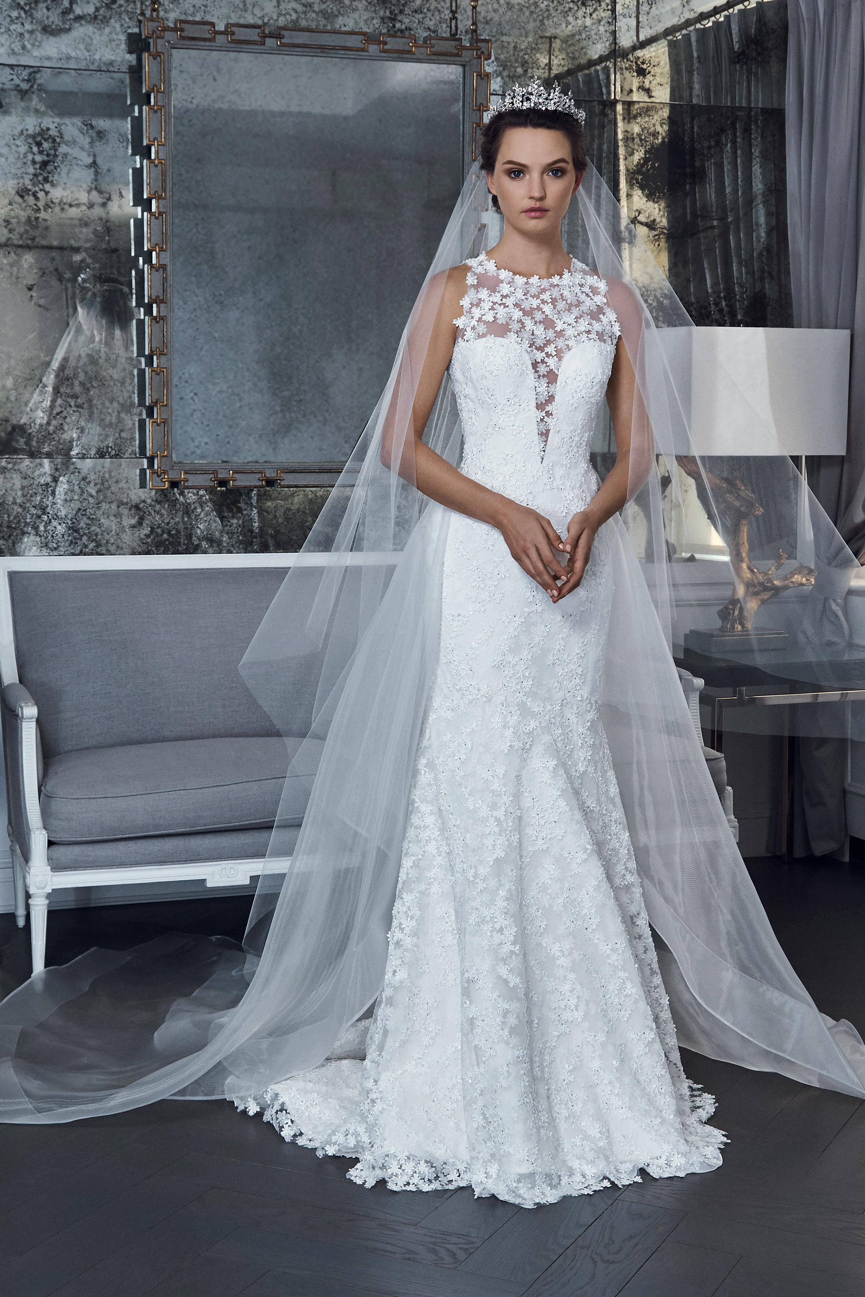 romona keveza collection wedding dress spring 2019 illusion sleeveless lace