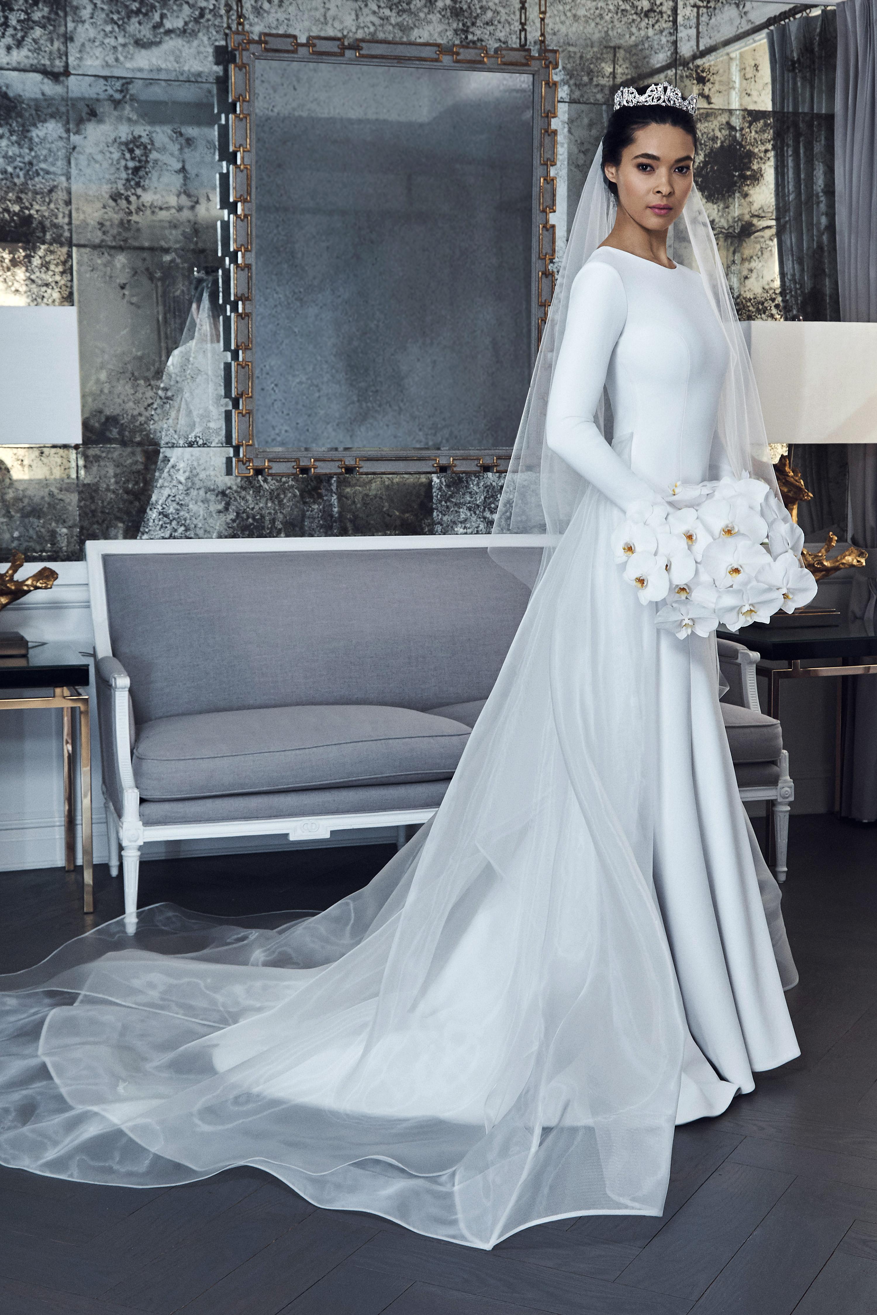 romona keveza collection wedding dress spring 2019 high neck long sleeves sheet train