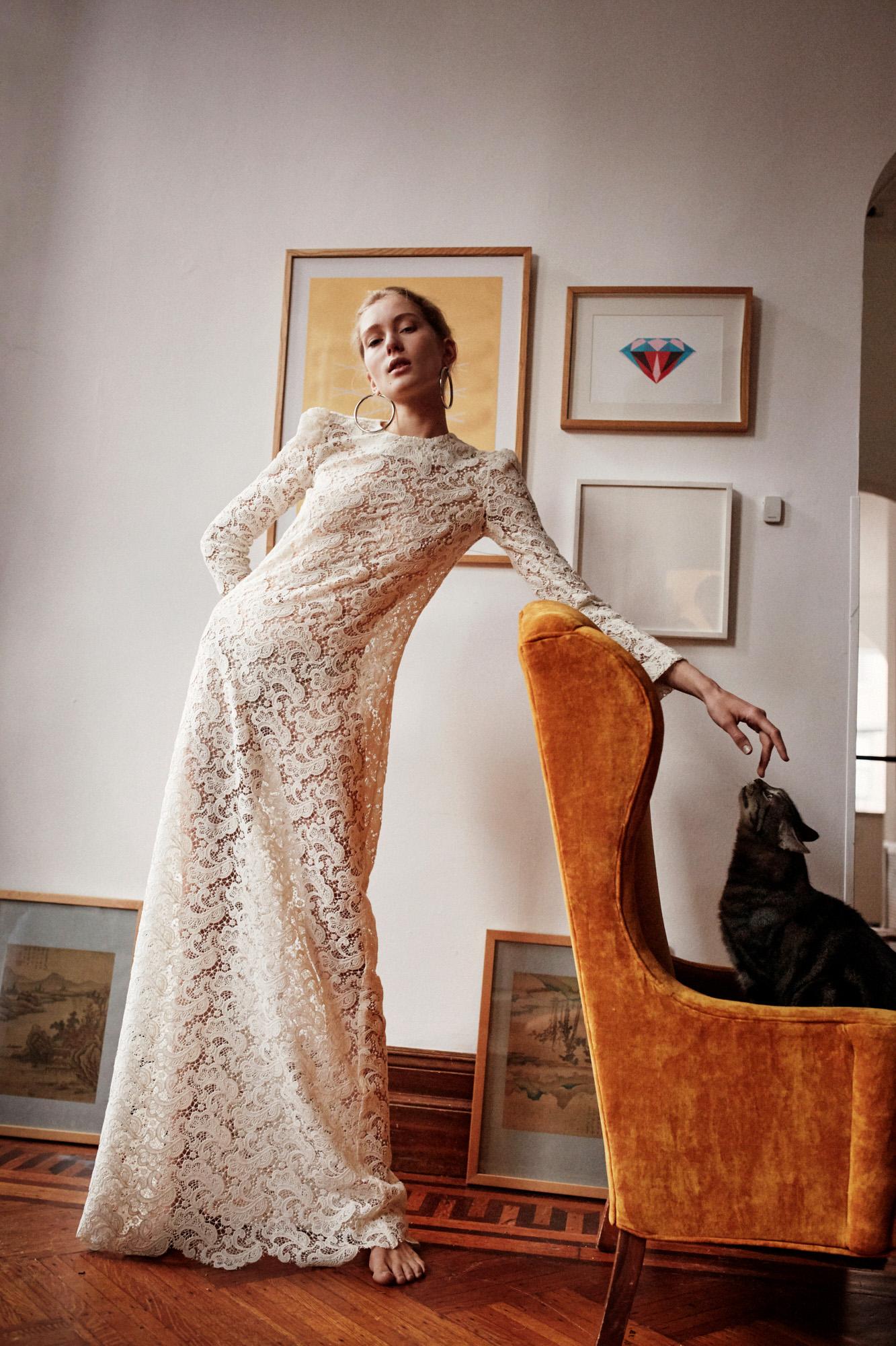 Lein wedding dress spring 2019 long sleeve lace sheath