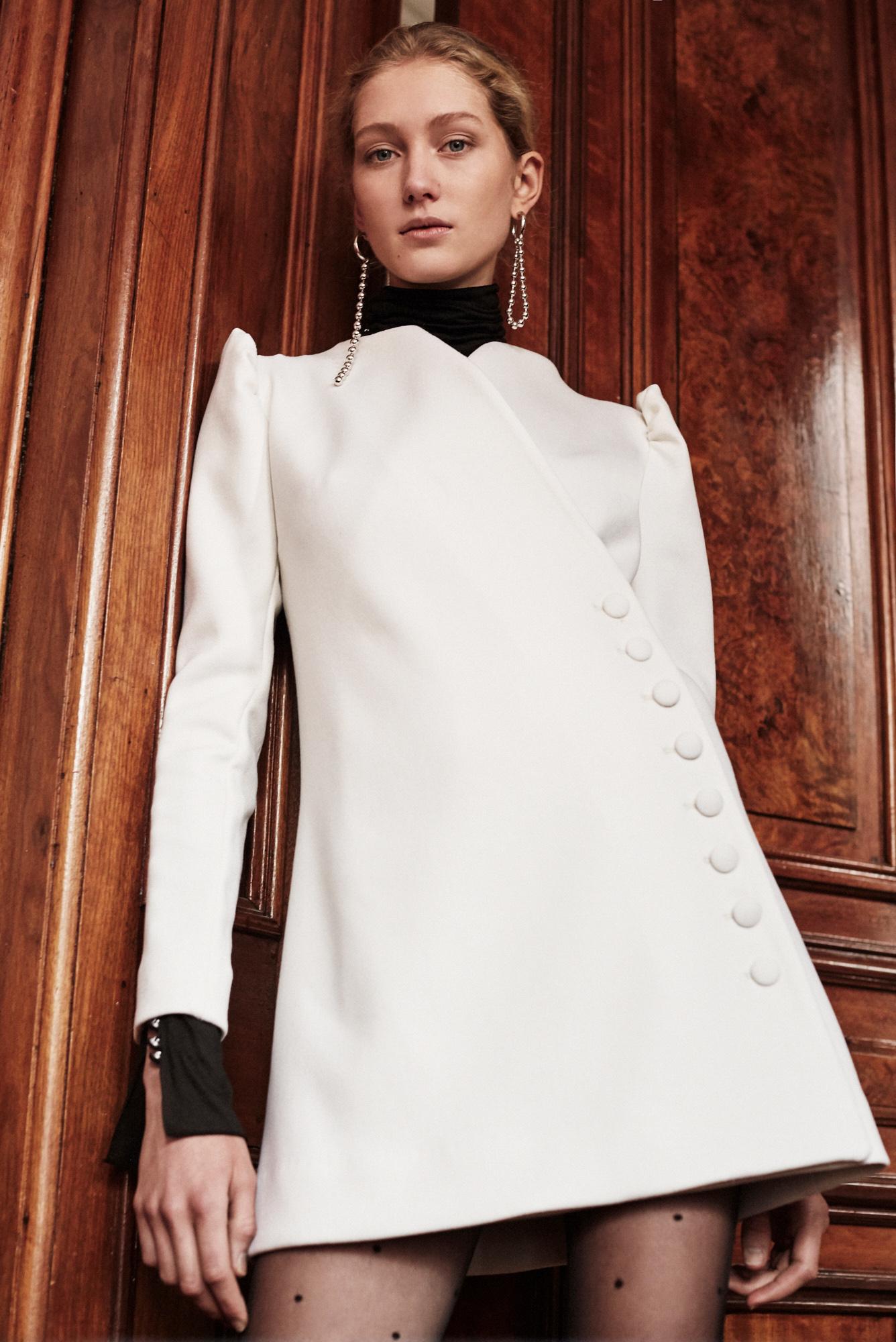Lein wedding dress spring 2019 long sleeve high neck jacket with black collar