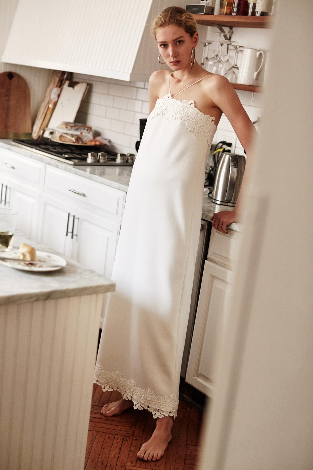 Lein wedding dress spring 2019 sheath with halter spaghetti top and lace trim