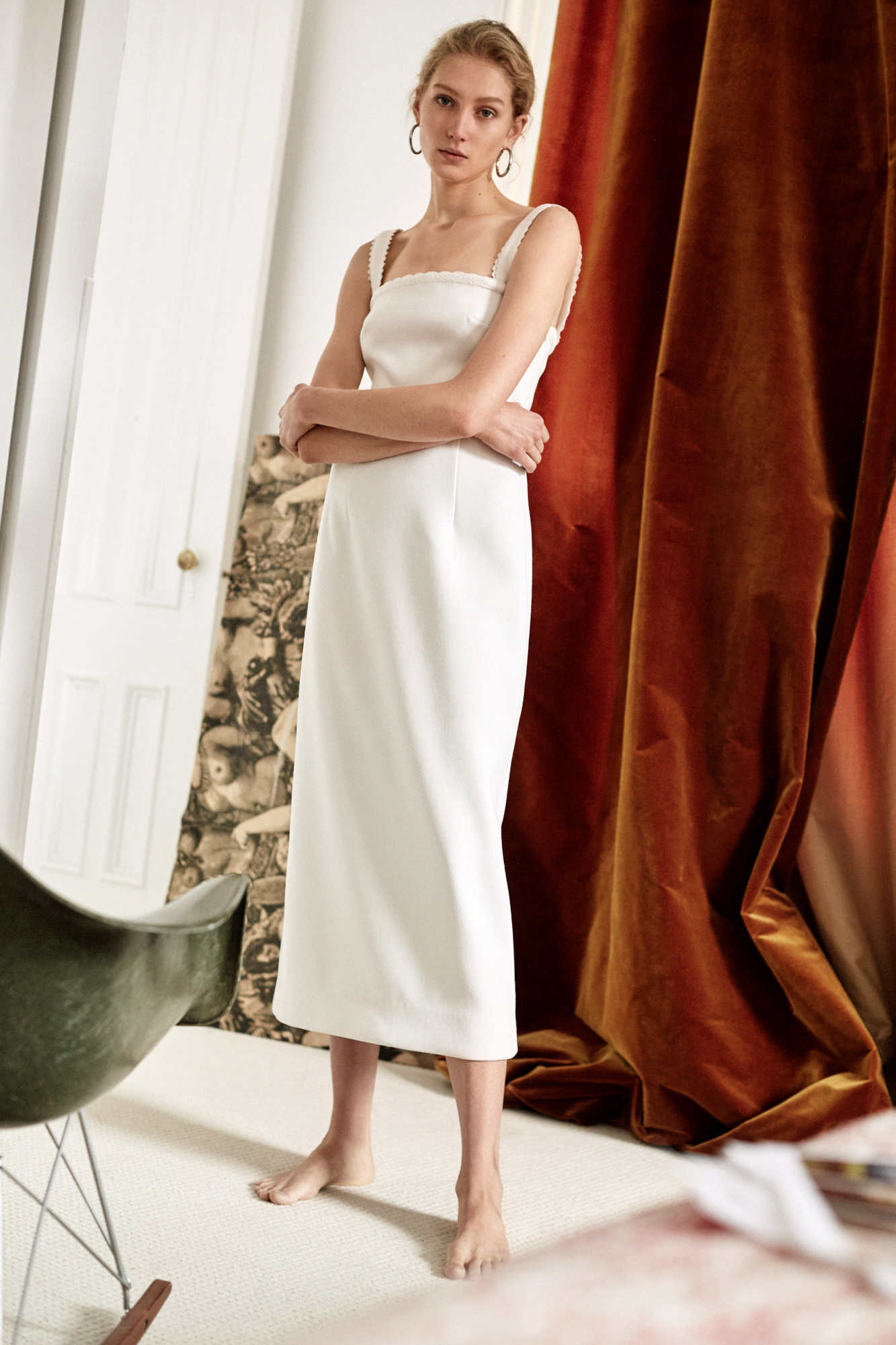 Lein wedding dress spring 2019 tea length sheath